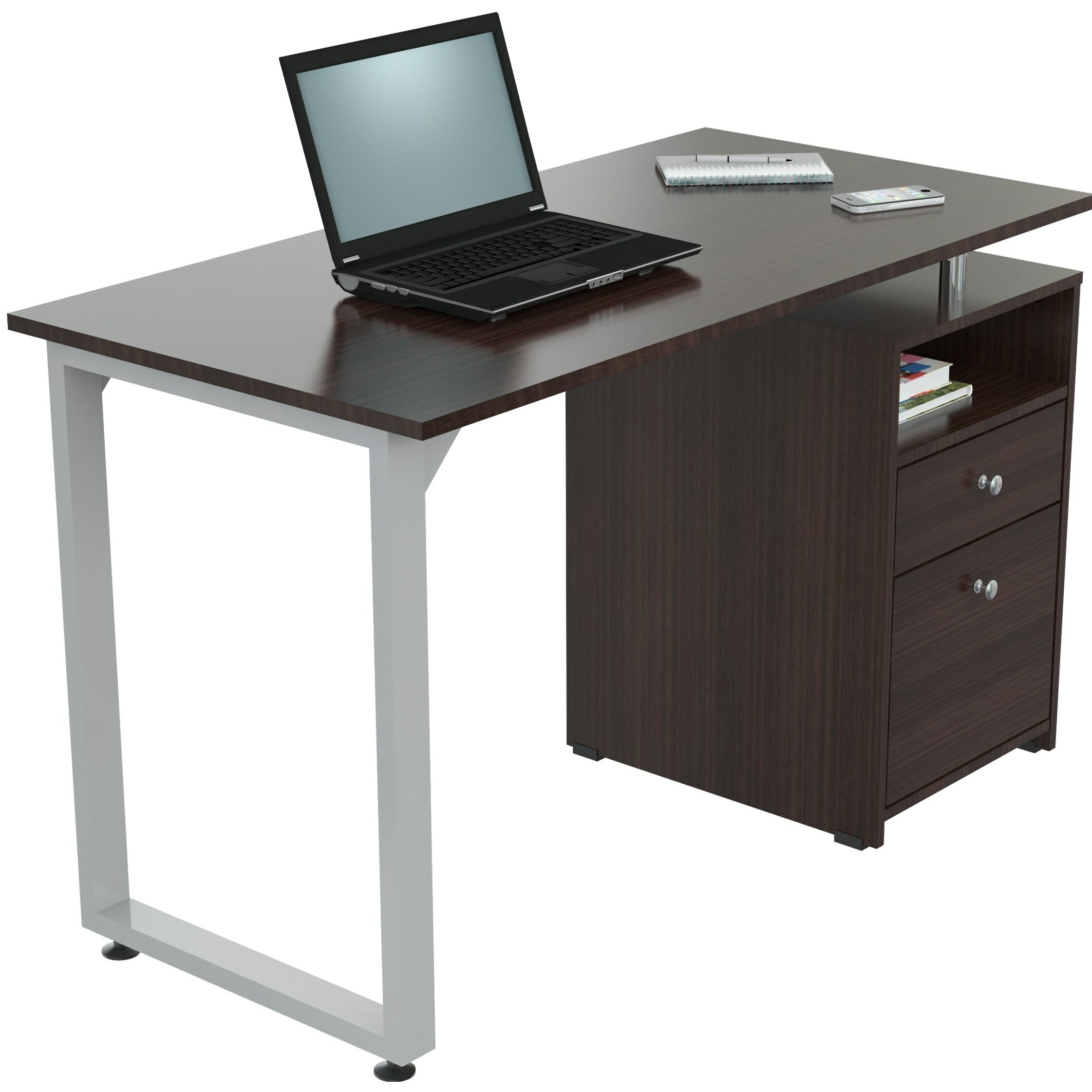 Inval Inval Computer Desk With 2 Drawers In Brown