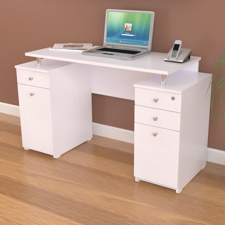 Inval Laura Computer Desk With Accessory Drawers Amp Reviews