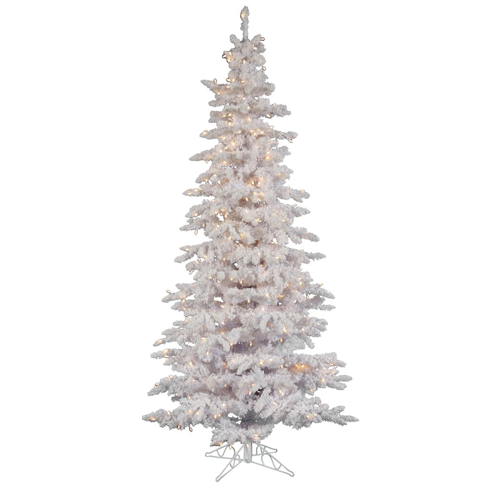 Vickerman Flocked White Spruce 10' Artificial Christmas Tree with ...