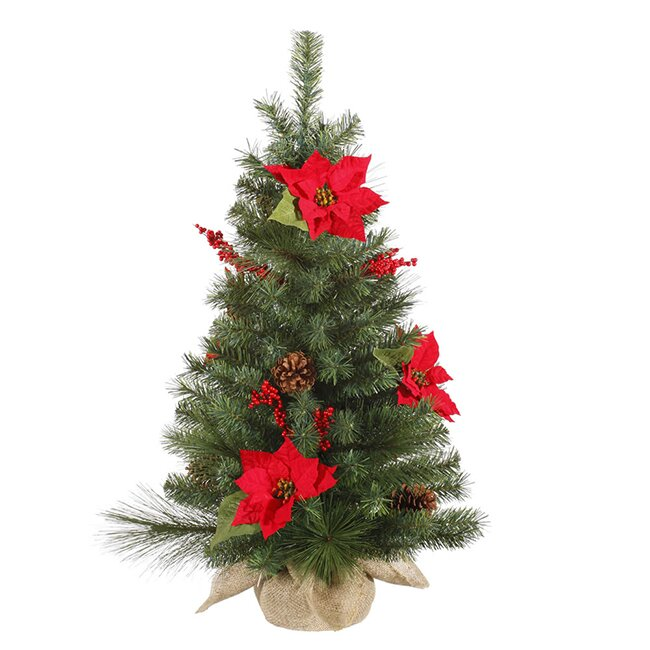 Artificial Christmas Tree With Pine Cones: Vickerman 3' Poinsettia And Pine Cone Artificial Christmas