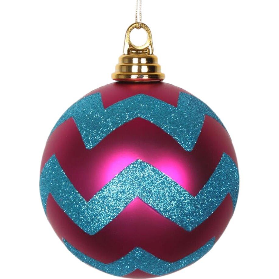 Vickerman Glitter Chevron Shatterproof Christmas Ball