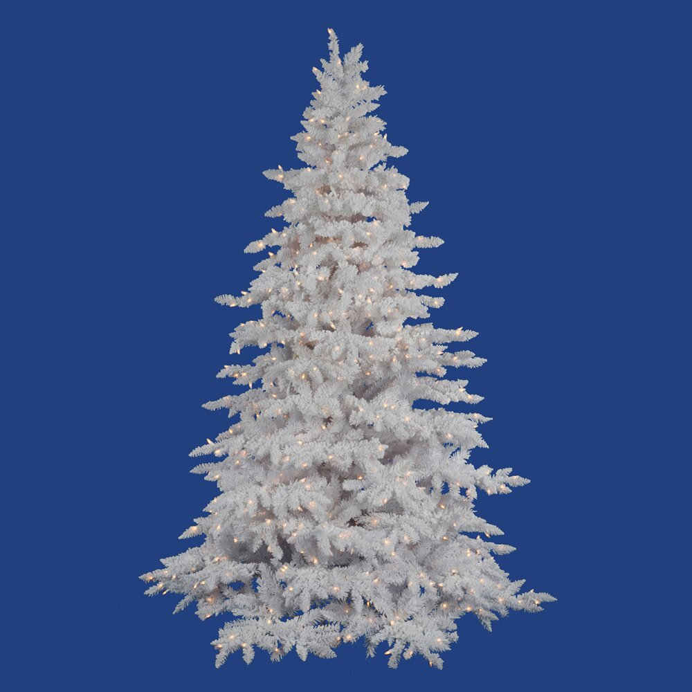 Vickerman Flocked White Spruce 4.5' Artificial Christmas ...