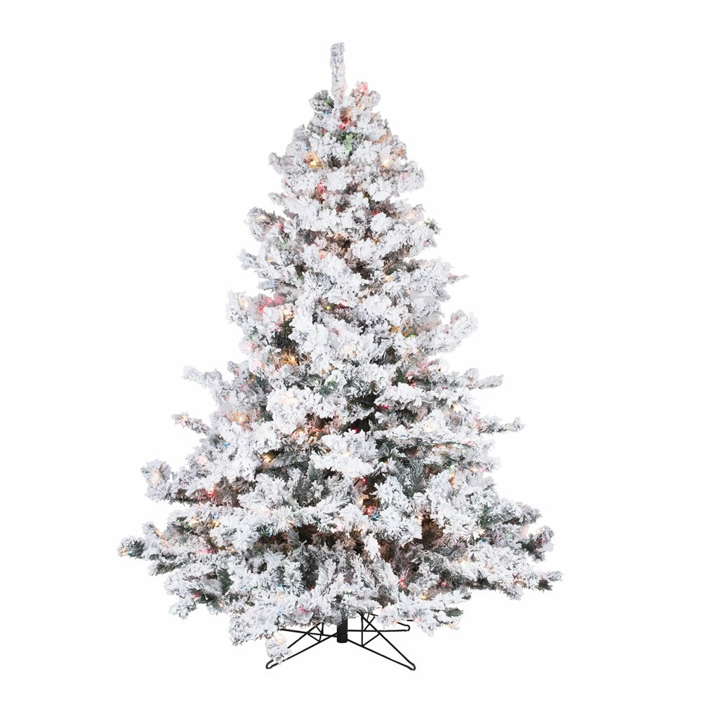 Vickerman Flocked Alaskan 6.5' White Artificial Christmas ...