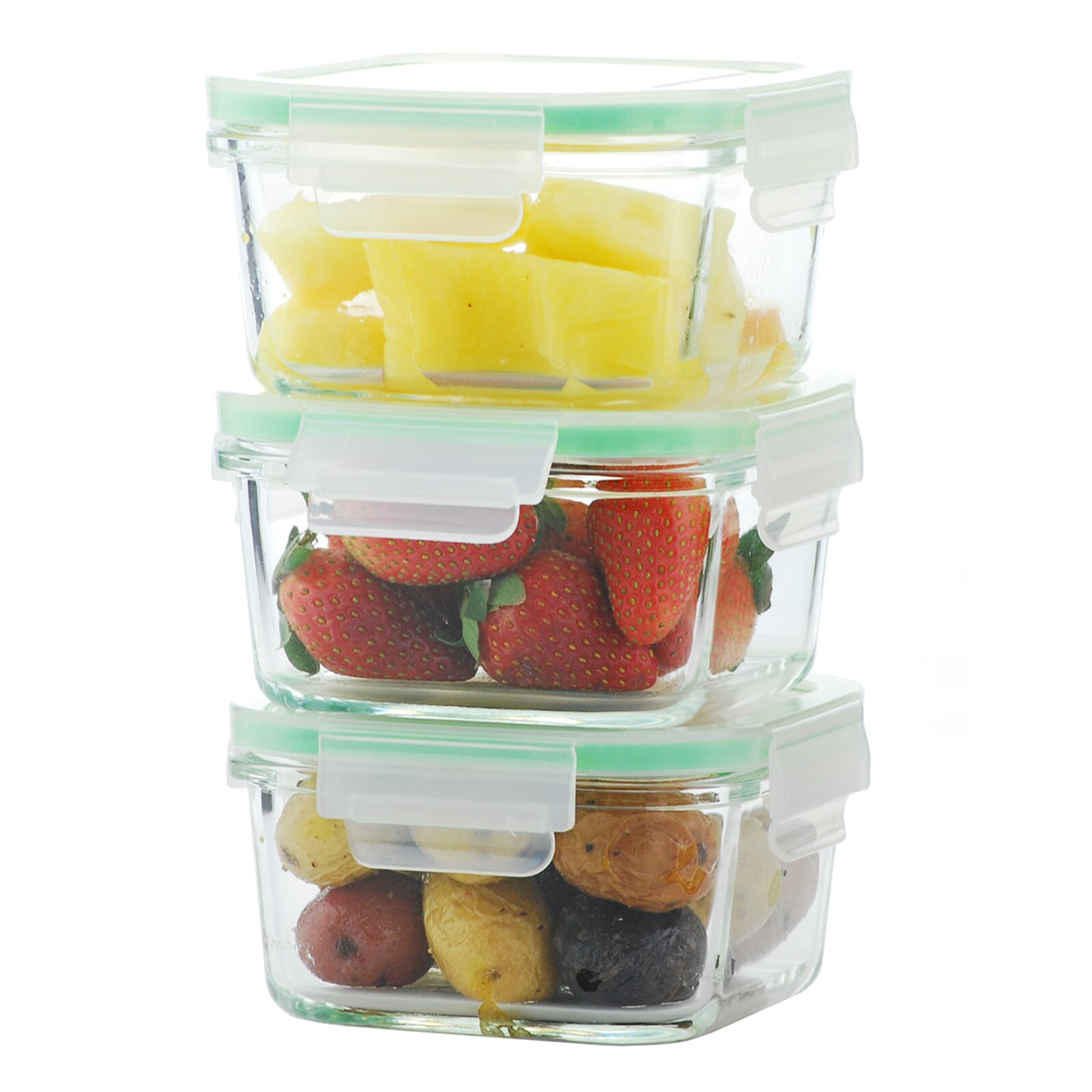 Kinetic gogreen glassworks 3 piece food storage container for 3 pieces cuisine