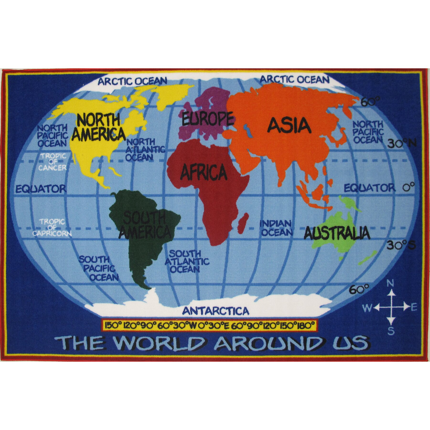 World Map Baby Rug: Fun Rugs Fun Time World Map Kids Rug