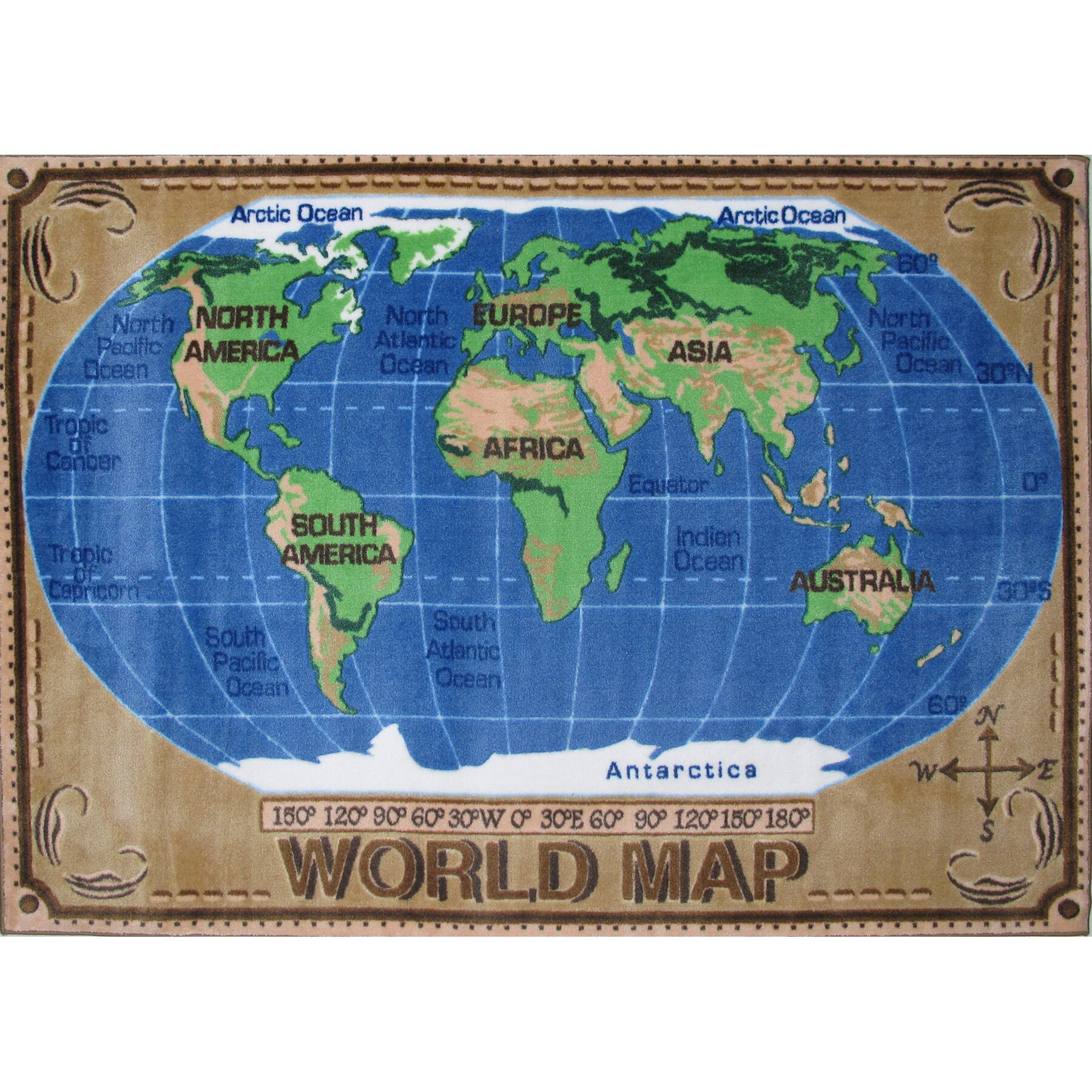 World Map Baby Rug: Fun Rugs Supreme World Map Kids Rug & Reviews