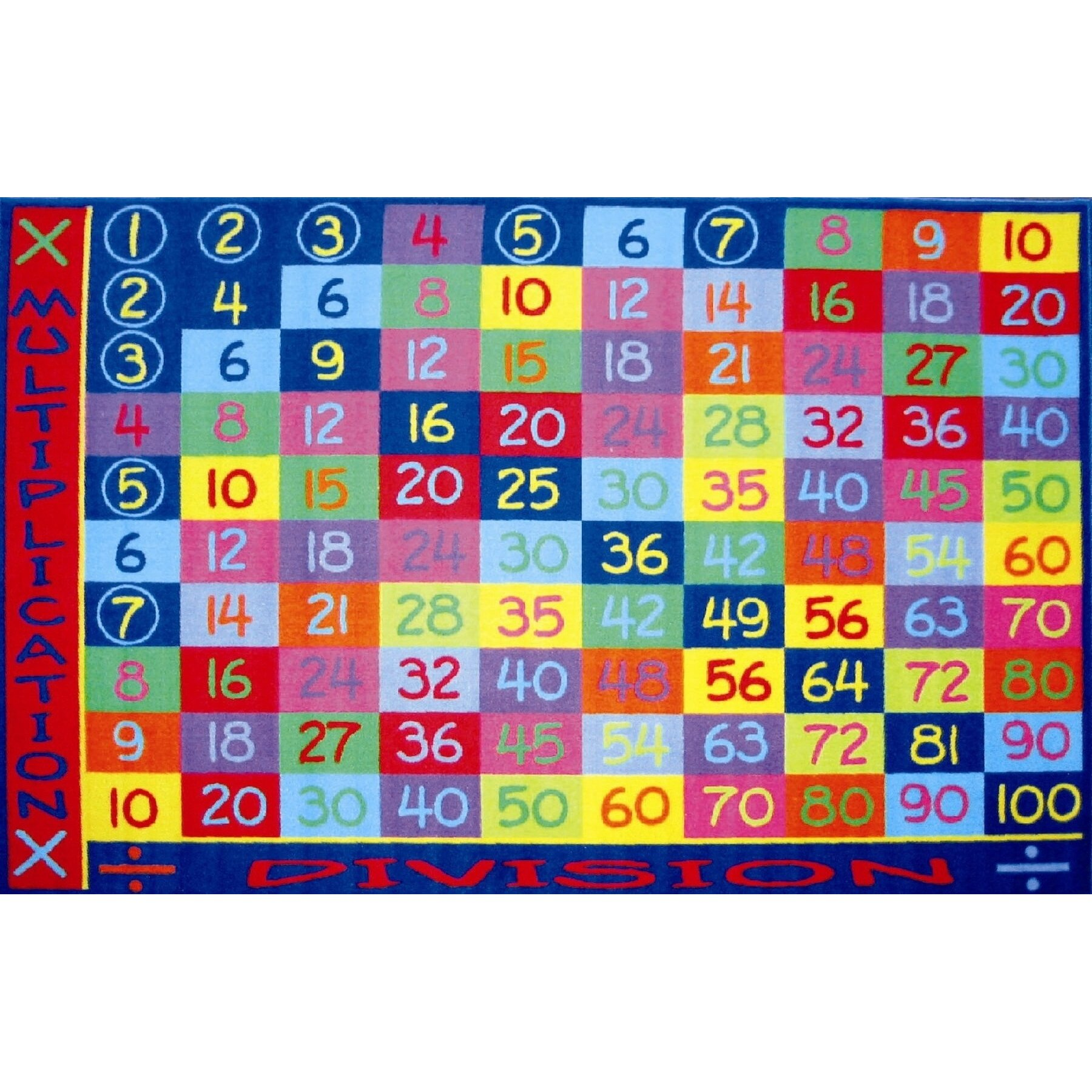 Educational Rugs Cheap: Fun Rugs Fun Time Multiplication Classroom Area Rug