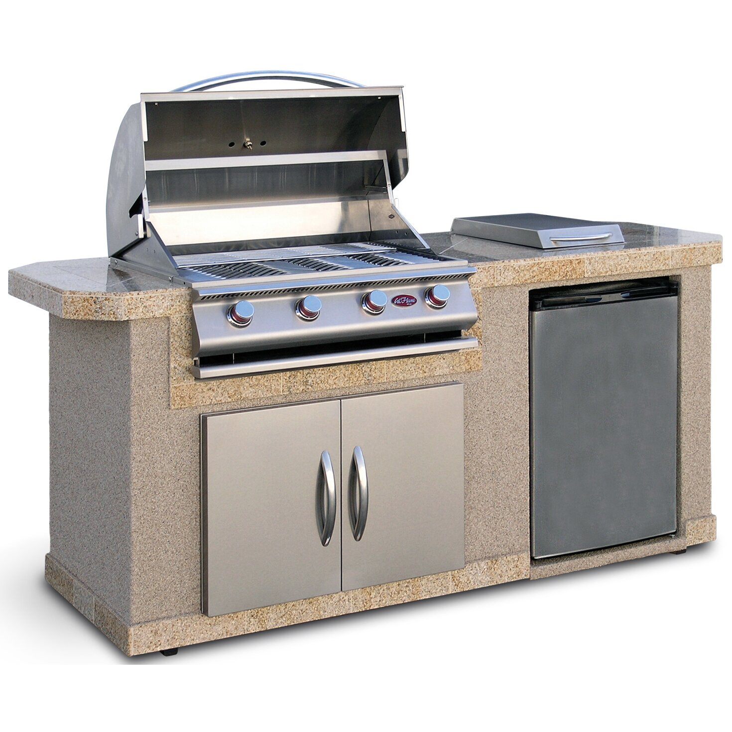 CalFlame 84 Outdoor Kitchen Islands 4 Burner Liquid Propane Gas Grill