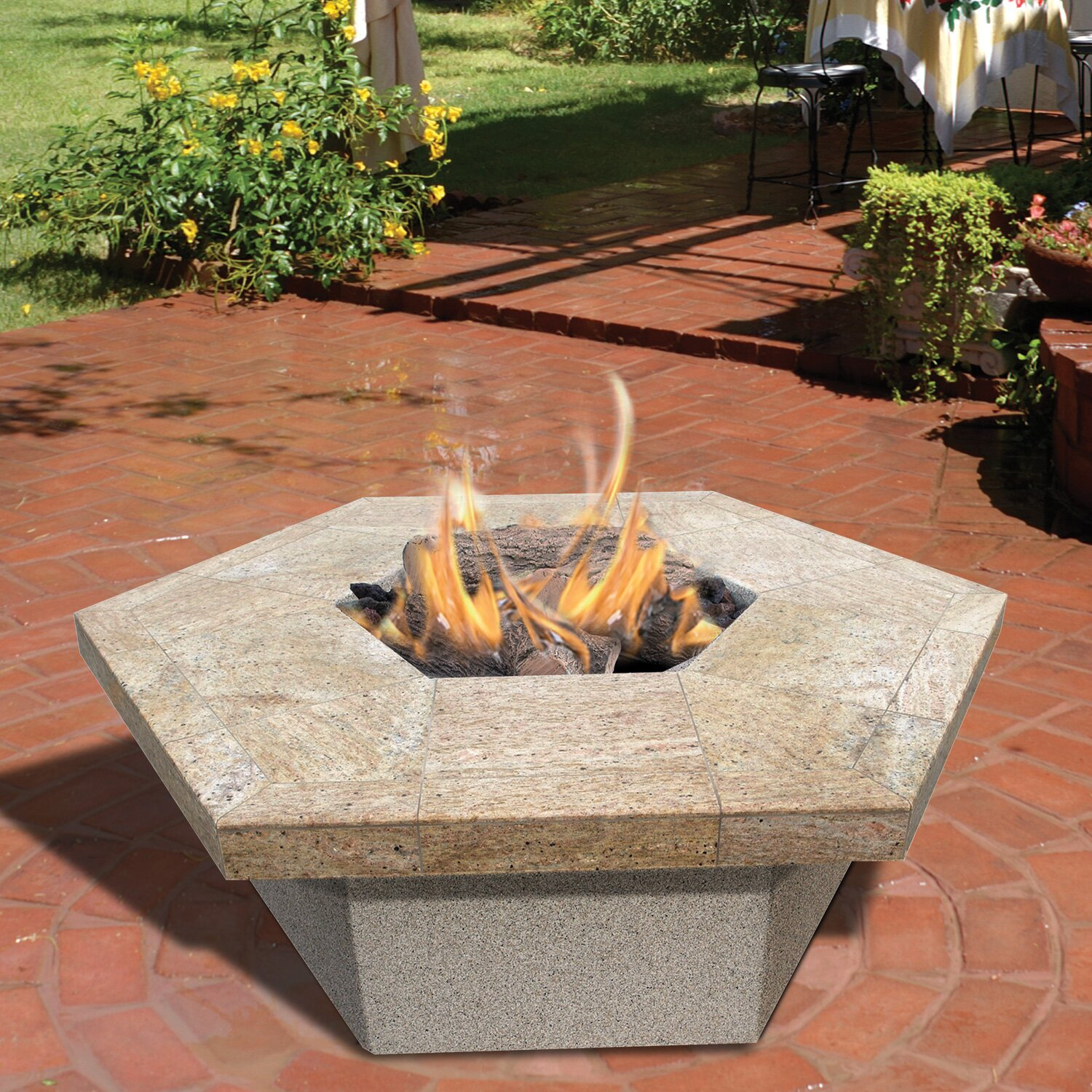 Square Dining Room Table For 12 Calflame Hexagon Gas Fire Pit Amp Reviews Wayfair