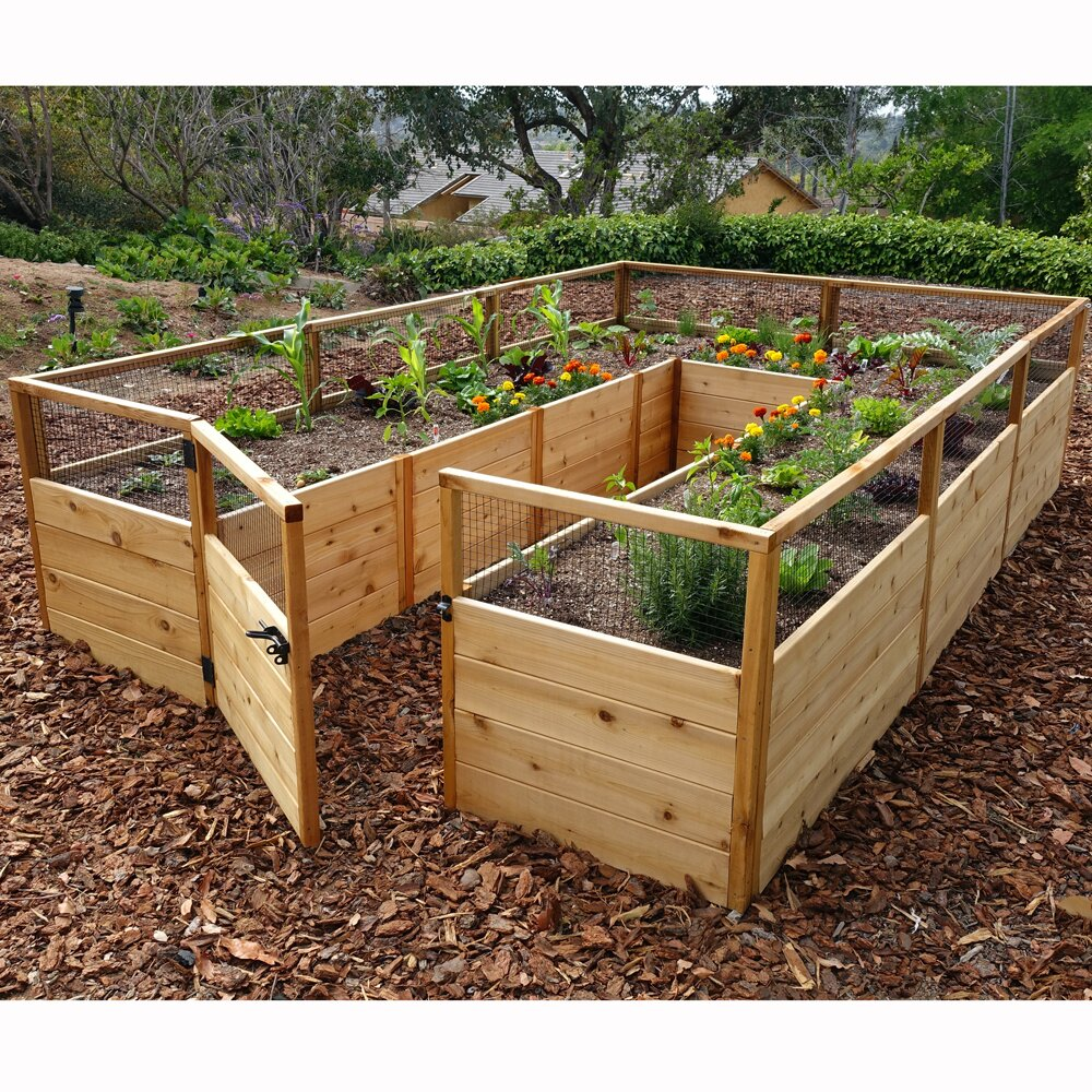 Outdoor living today 8 39 x 12 39 cedar raised garden bed Raised garden beds