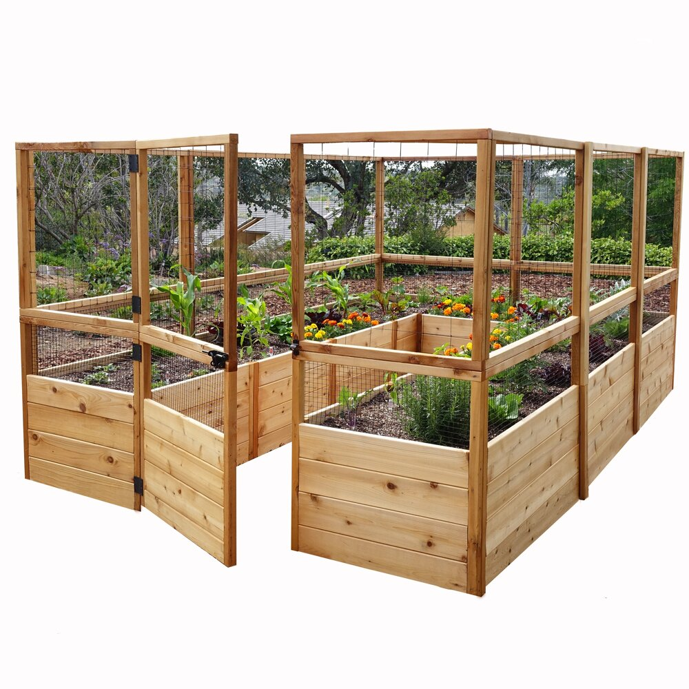 Outdoor living today rectangular raised cedar garden bed for Wayfair garden box