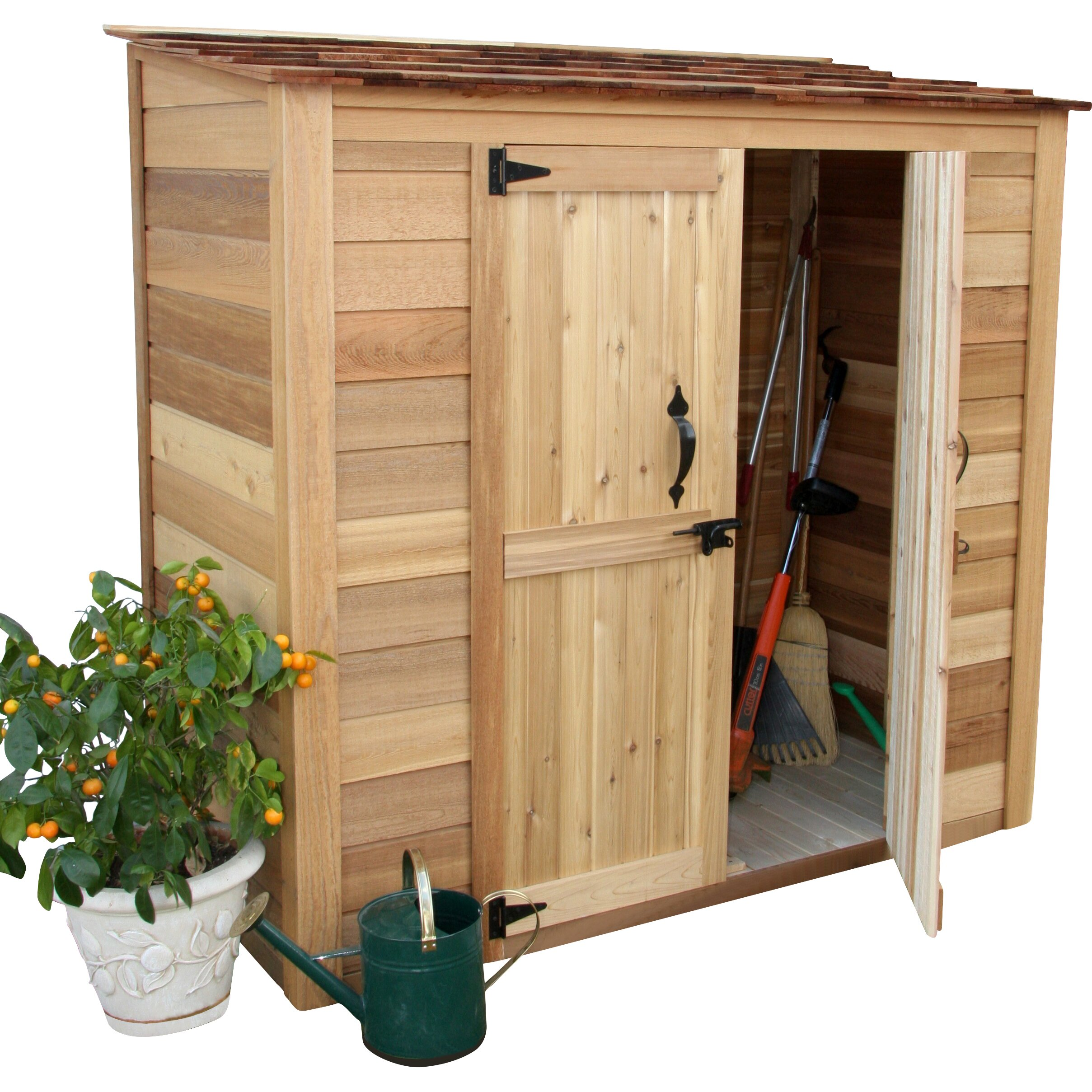Outdoor living today garden chalet 6 ft w x 3 ft d wood for Garden shed 7 x 3
