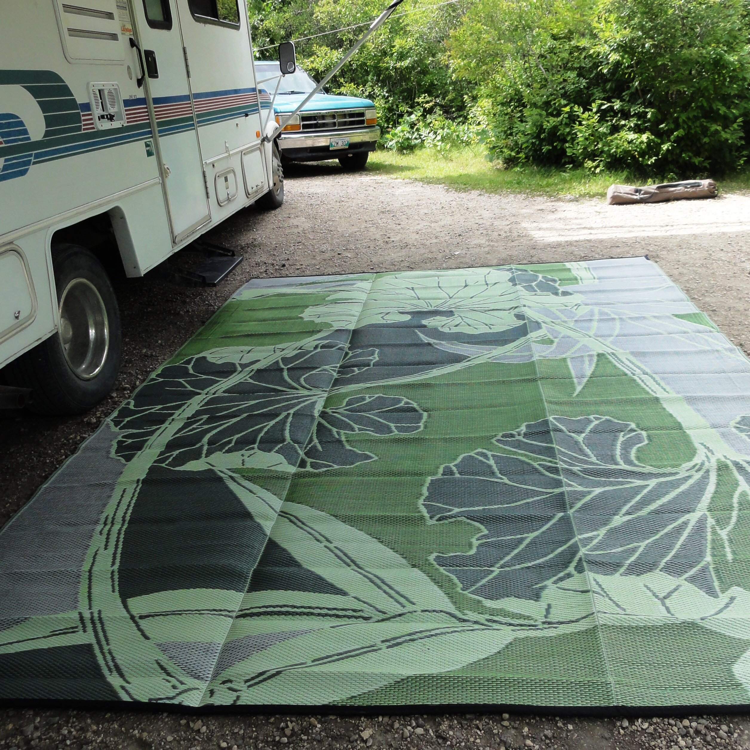 bonia Blossom RV Camping Patio Mat Green Grey