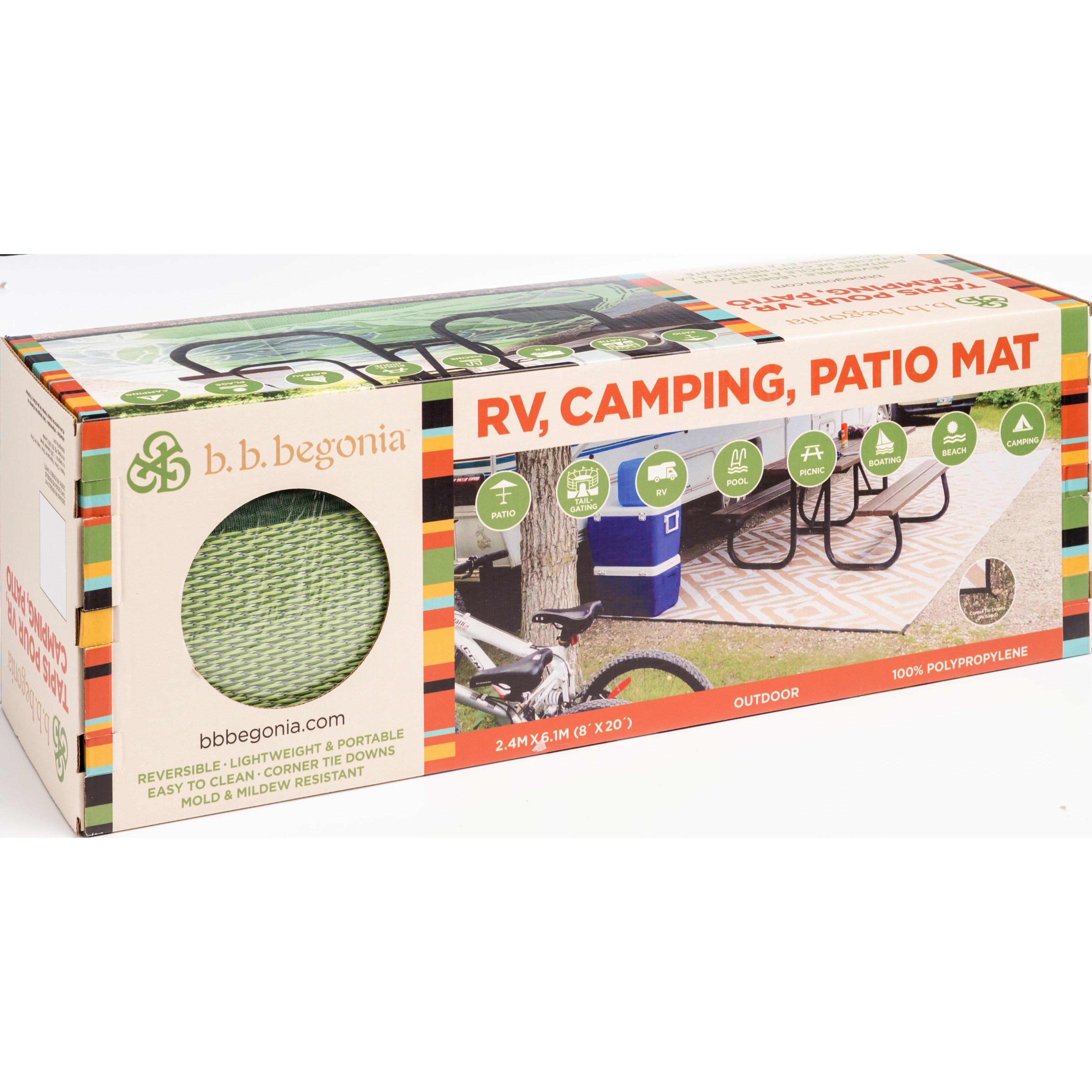 B B Begonia Blossom Rv Camping Patio Mat Green Grey