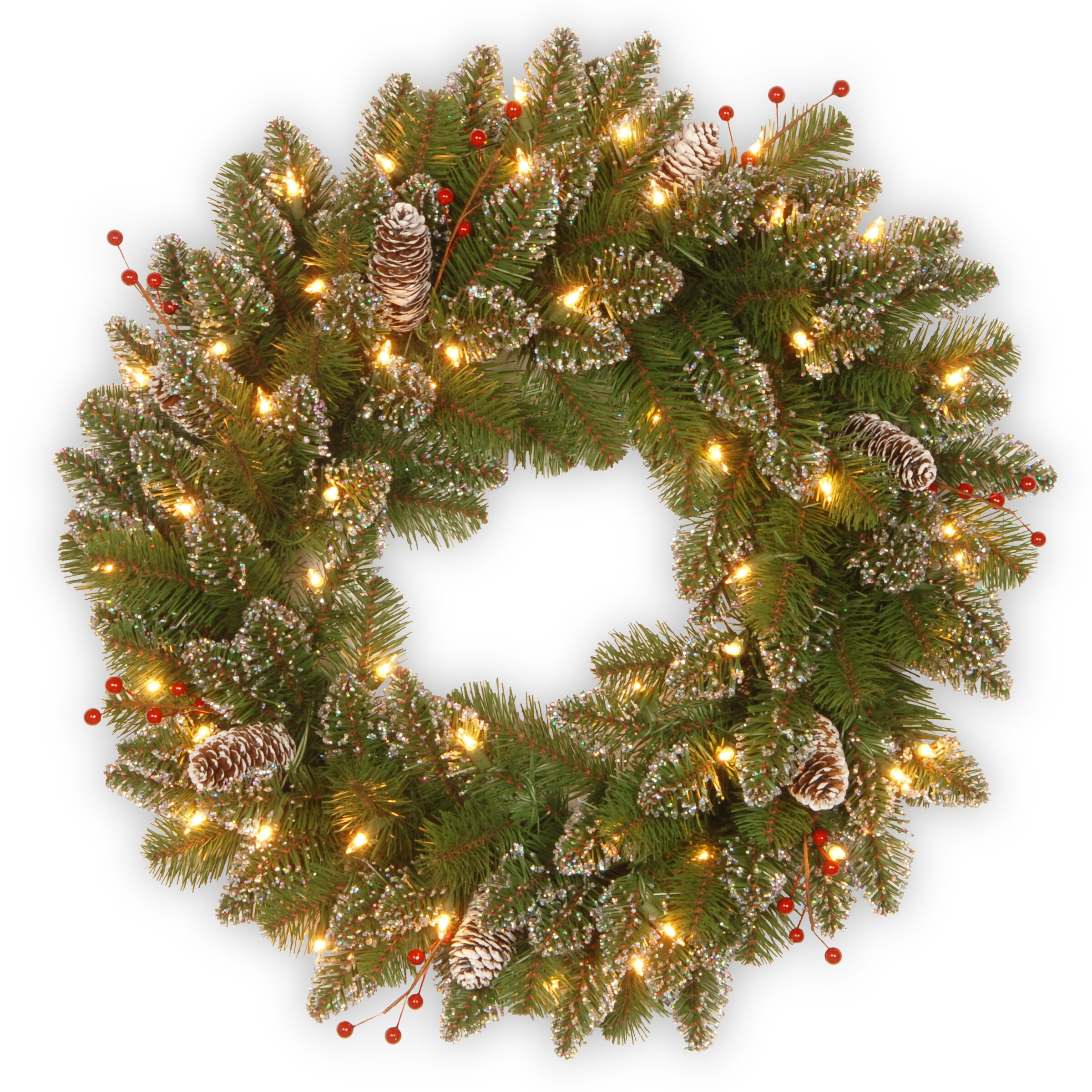 National Tree Co Glittery Mountain Pre Lit Spruce Wreath