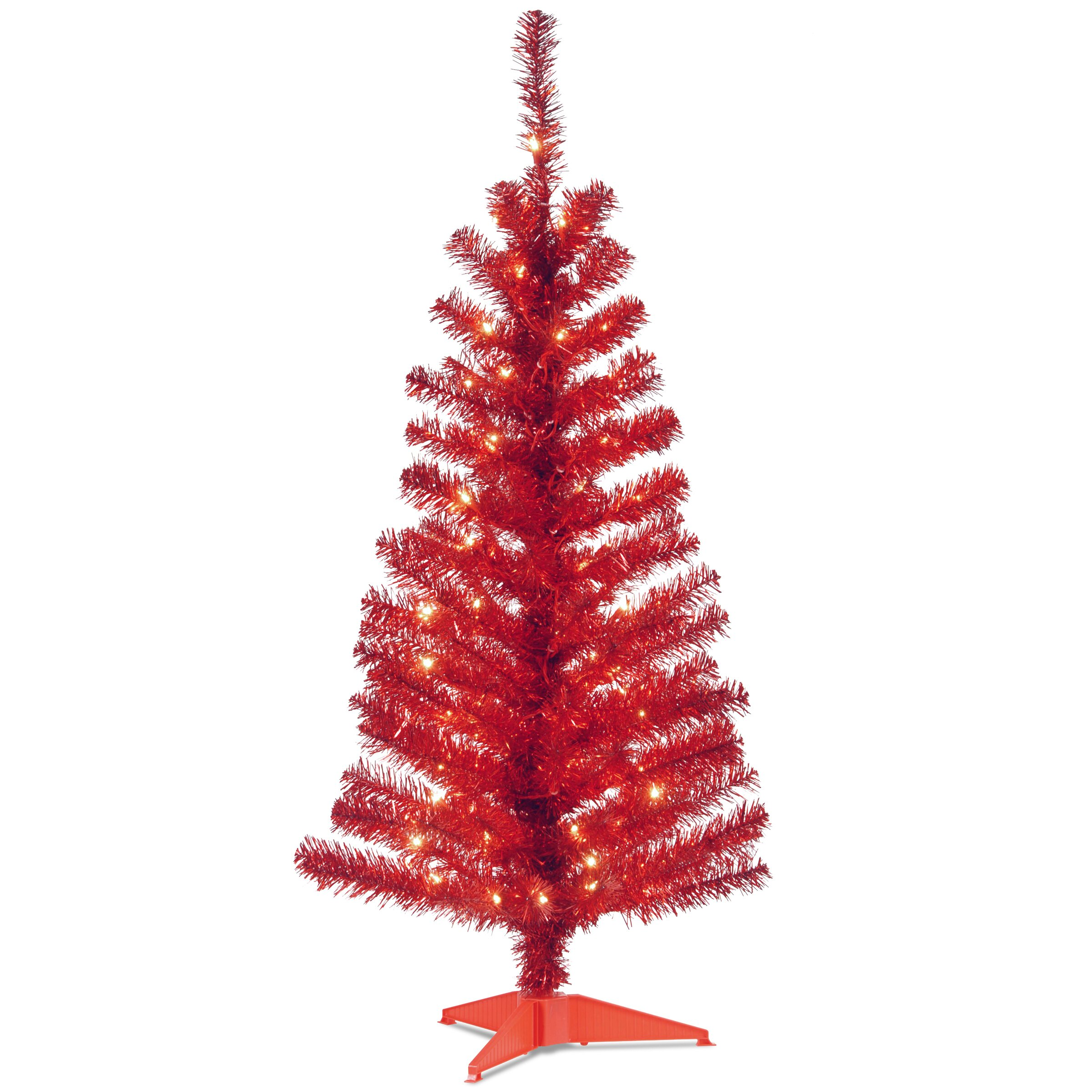 """National Tree Co. Tinsel Trees 4"""" Red Artificial Christmas ..."""