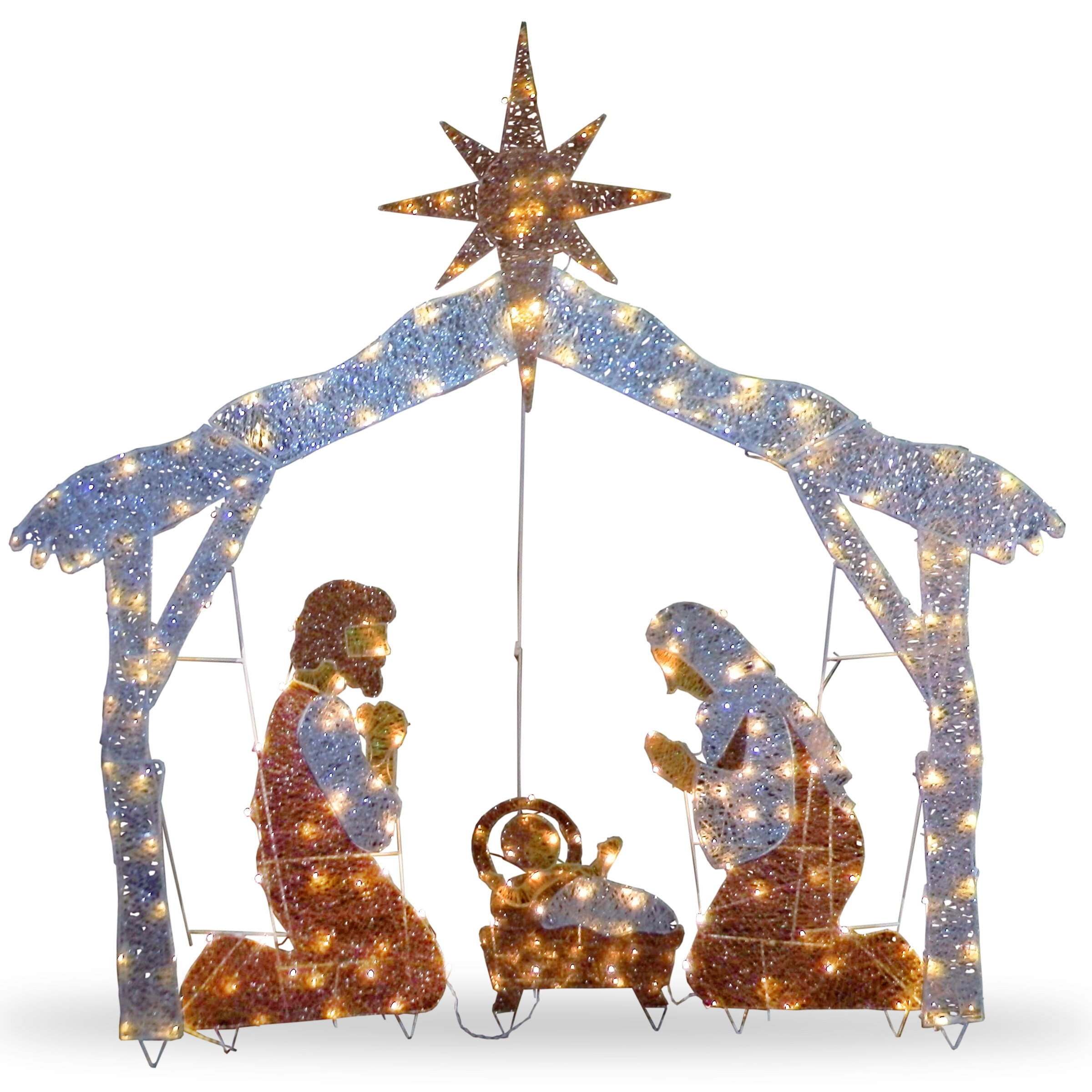 National tree co crystal nativity christmas decoration for 48 lighted crystal 3 d outdoor christmas wreath decoration