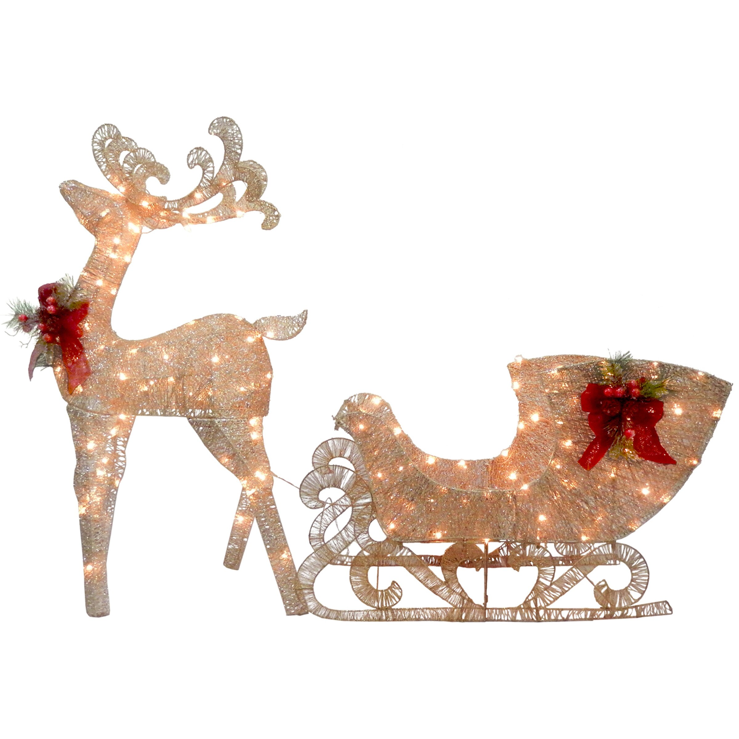 National tree co reindeer and santa s sleigh with led for Christmas reindeer decorations