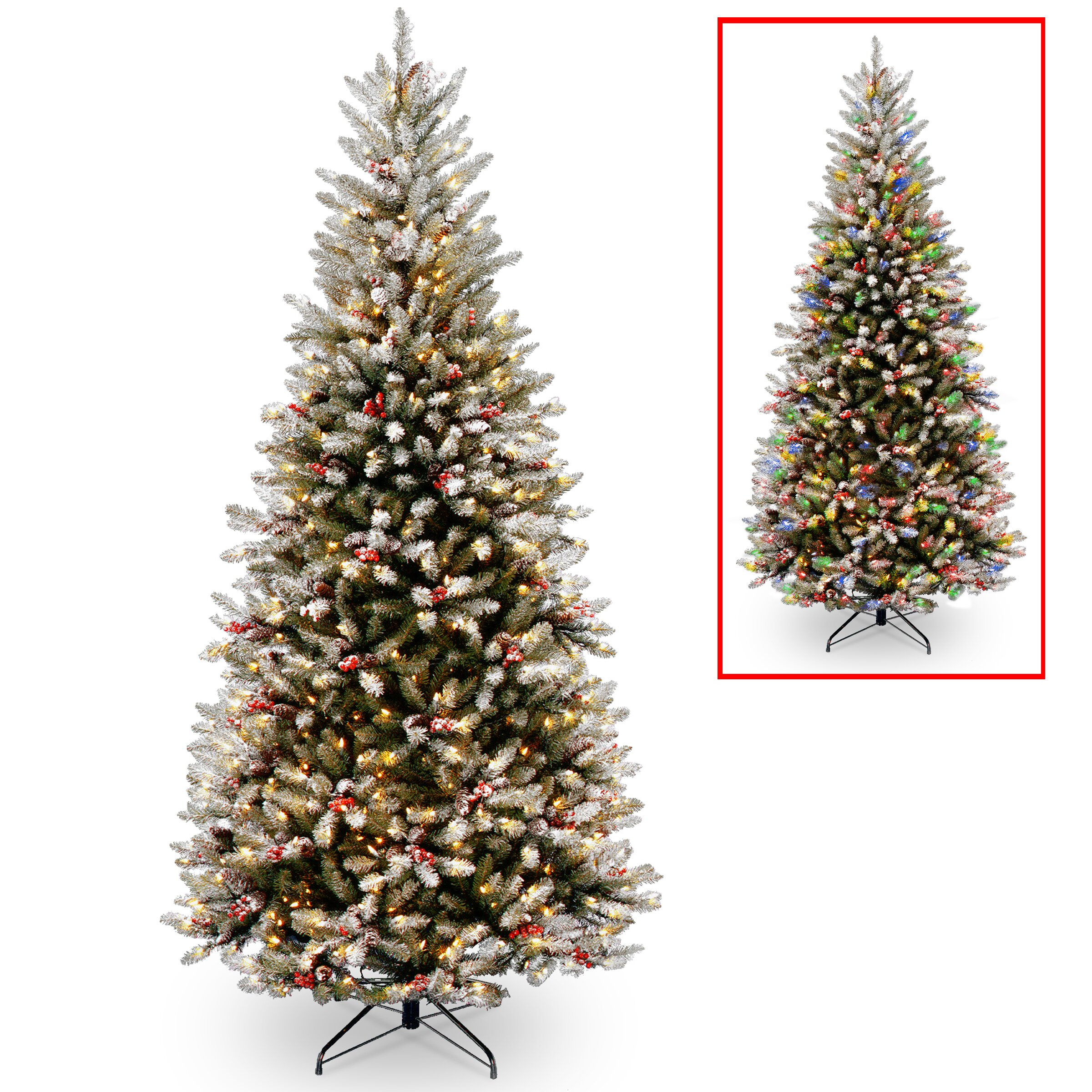 Green And White Christmas Tree: National Tree Co. 7.5' Frosted Green Fir Trees Artificial