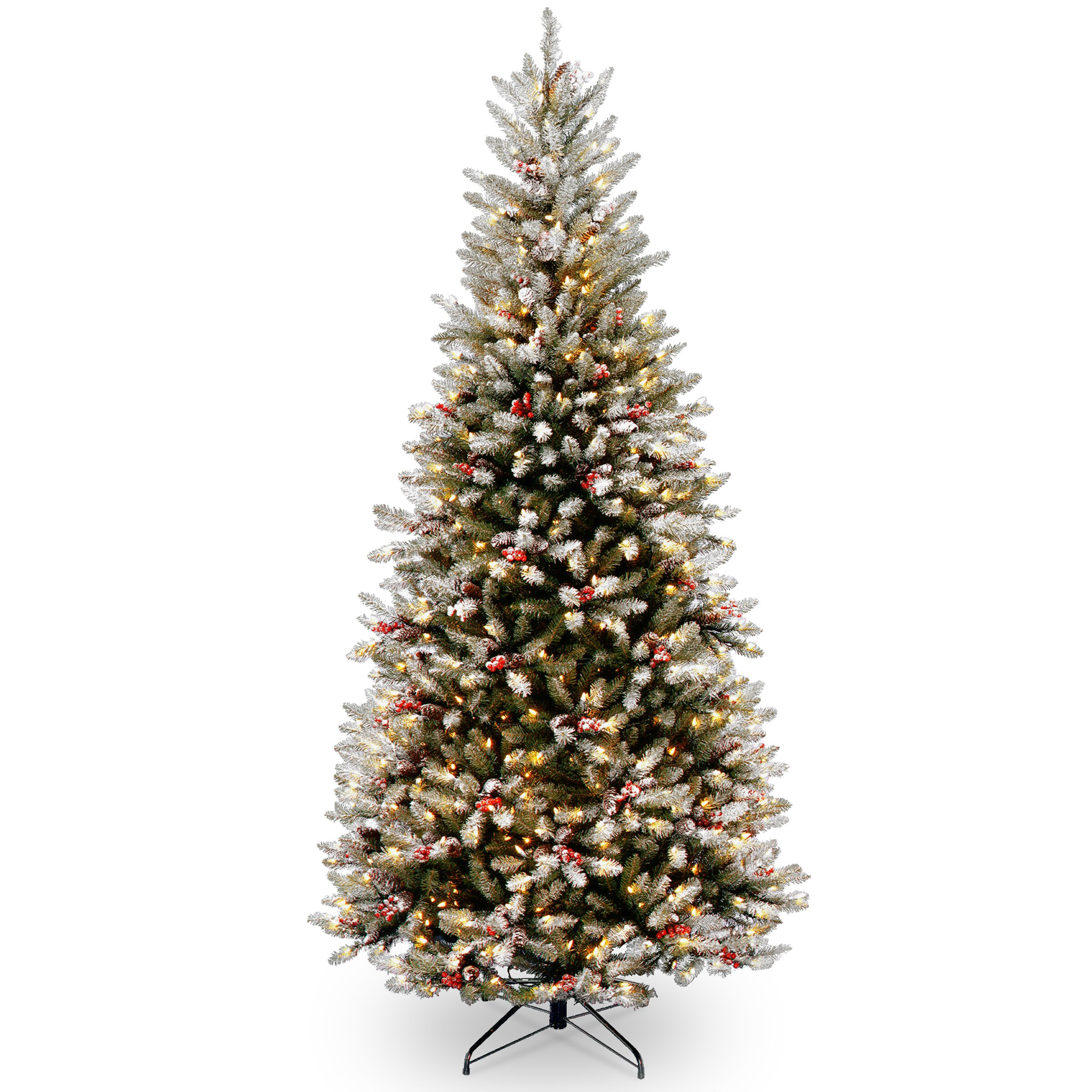 Artificial Christmas Trees: National Tree Co. 7.5' Frosted Green Fir Trees Artificial
