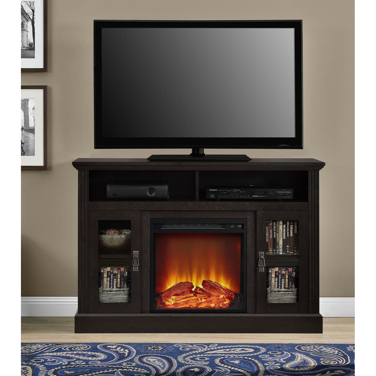 darby home co cristemas fireplace tv console reviews