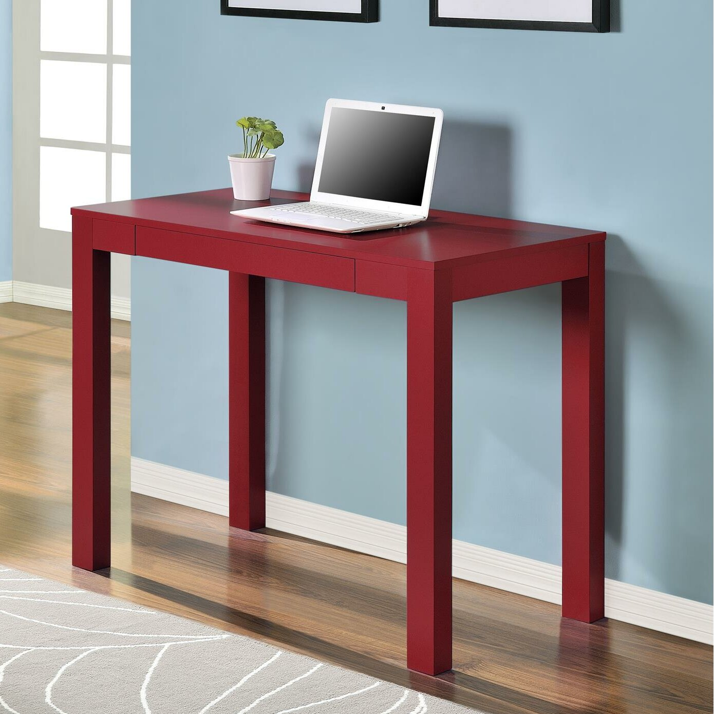 Altra Parsons Study Desk with Drawer, Black Finish ...