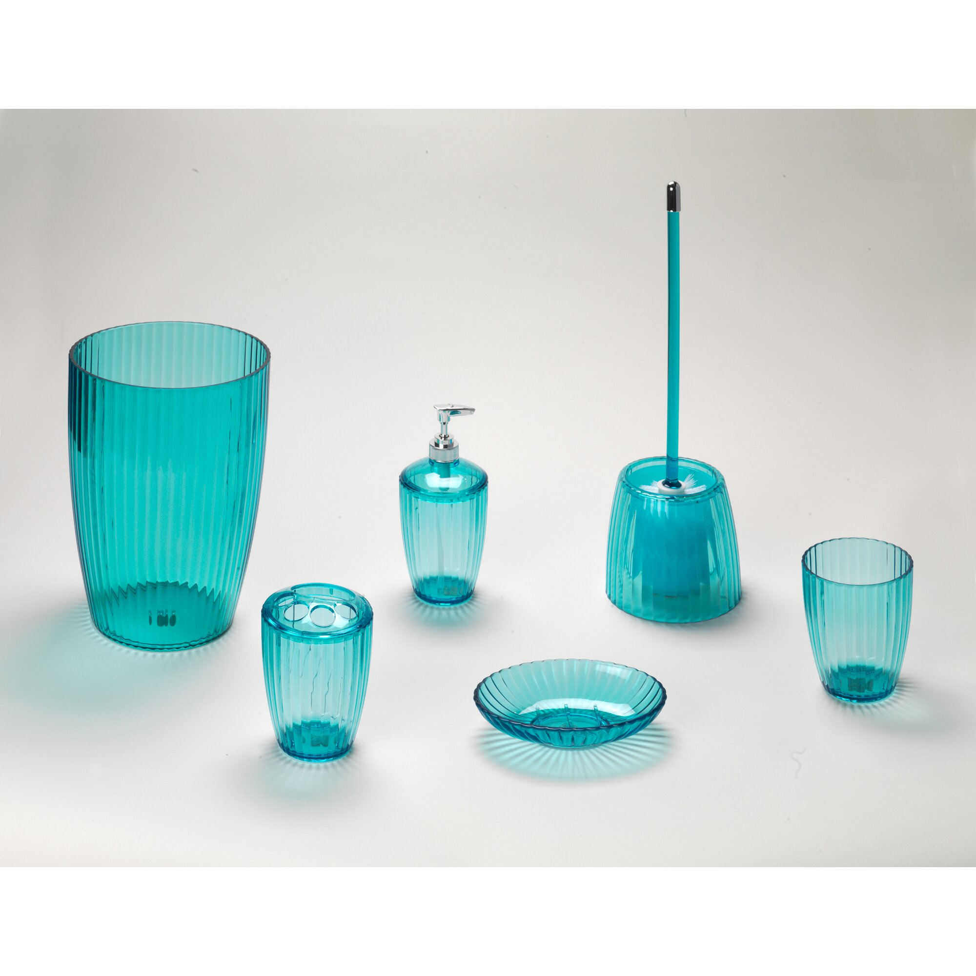 aqua colored bathroom accessories carnation home fashions acrylic ribbed free standing 15422