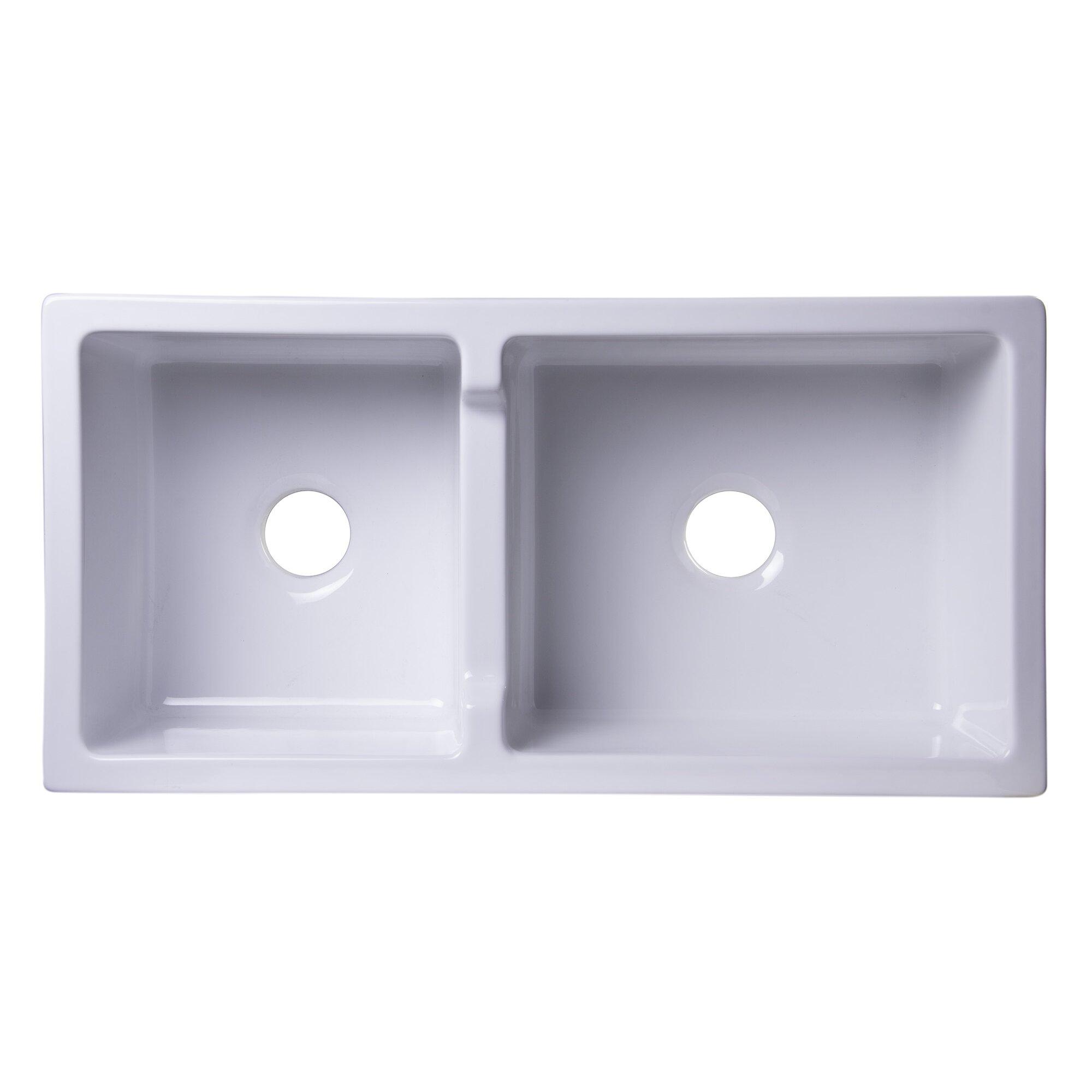 Fireclay Double Bowl Farmhouse Sink : ... Wall Fireclay Double Bowl Farmhouse Kitchen Sink & Reviews Wayfair