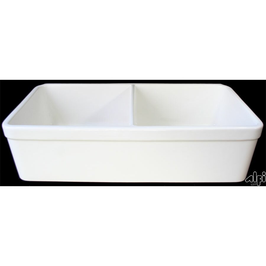 "Alfi Brand 32"" x 17 75"" Double Bowl Farmhouse Kitchen Sink & Re"