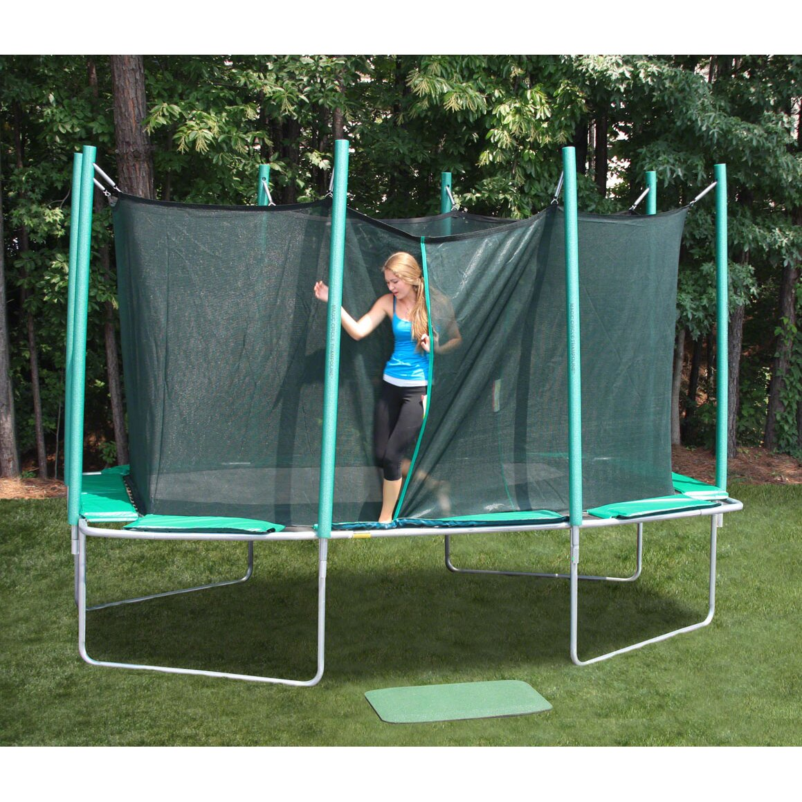 Kidwise Jumpfree 15 Ft Trampoline And Safety Enclosure: Kidwise 9 X 14 Ft. Rectagon Trampoline With Enclosure