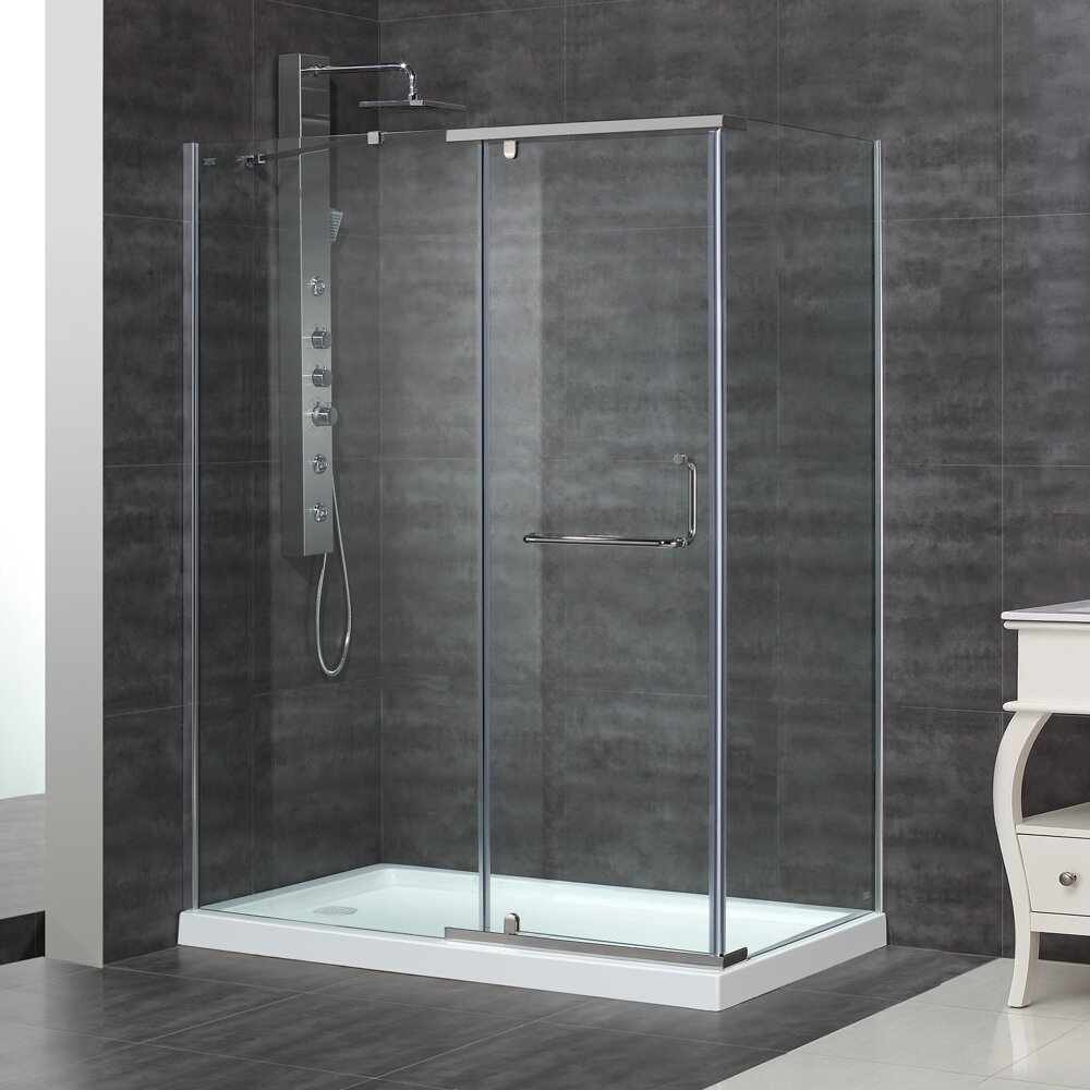 "Aston Semi-Frameless 48"" X 35"" 75"" Rectanular Pivot Shower"