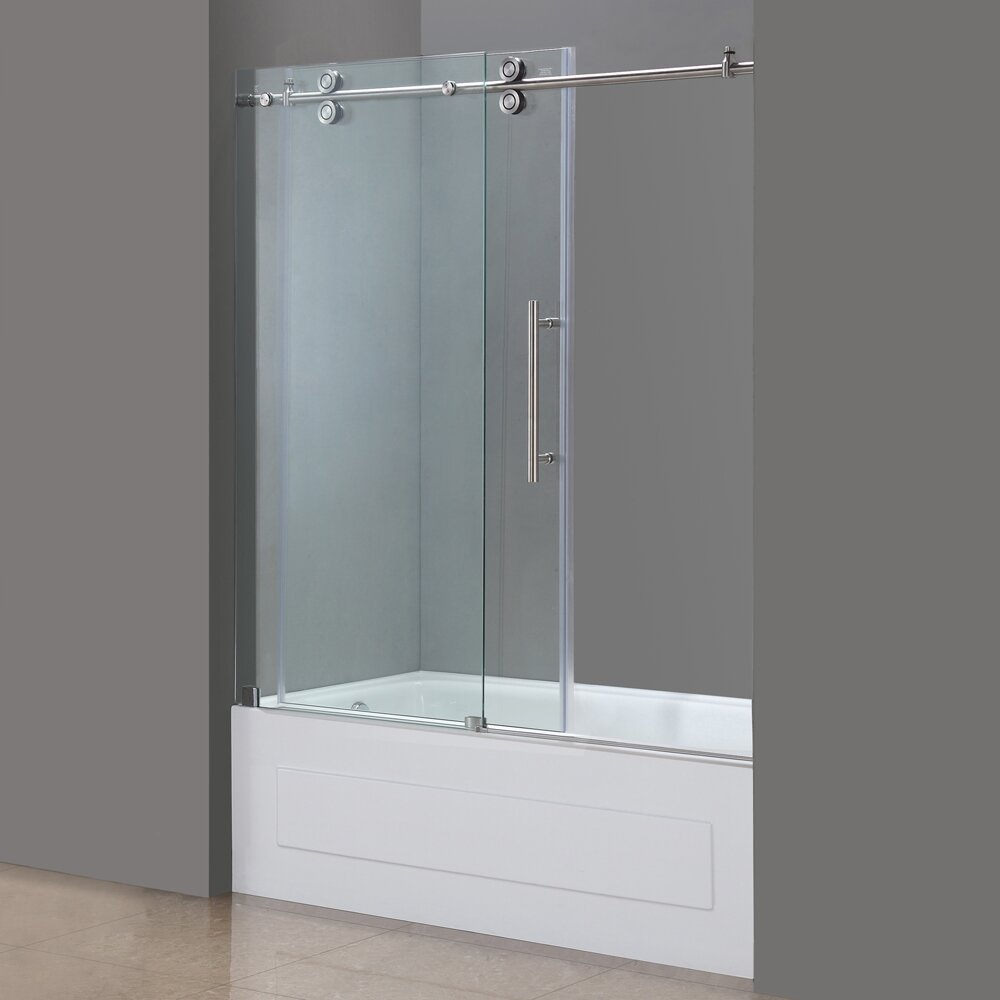 Aston Langham 60 X 60 Single Sliding Completely Frameless Tub Height Shower Door Reviews