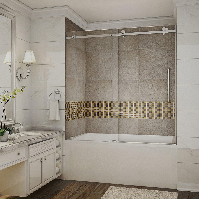 Aston moselle 60 x 60 single sliding completely - Bathtub shower doors ...