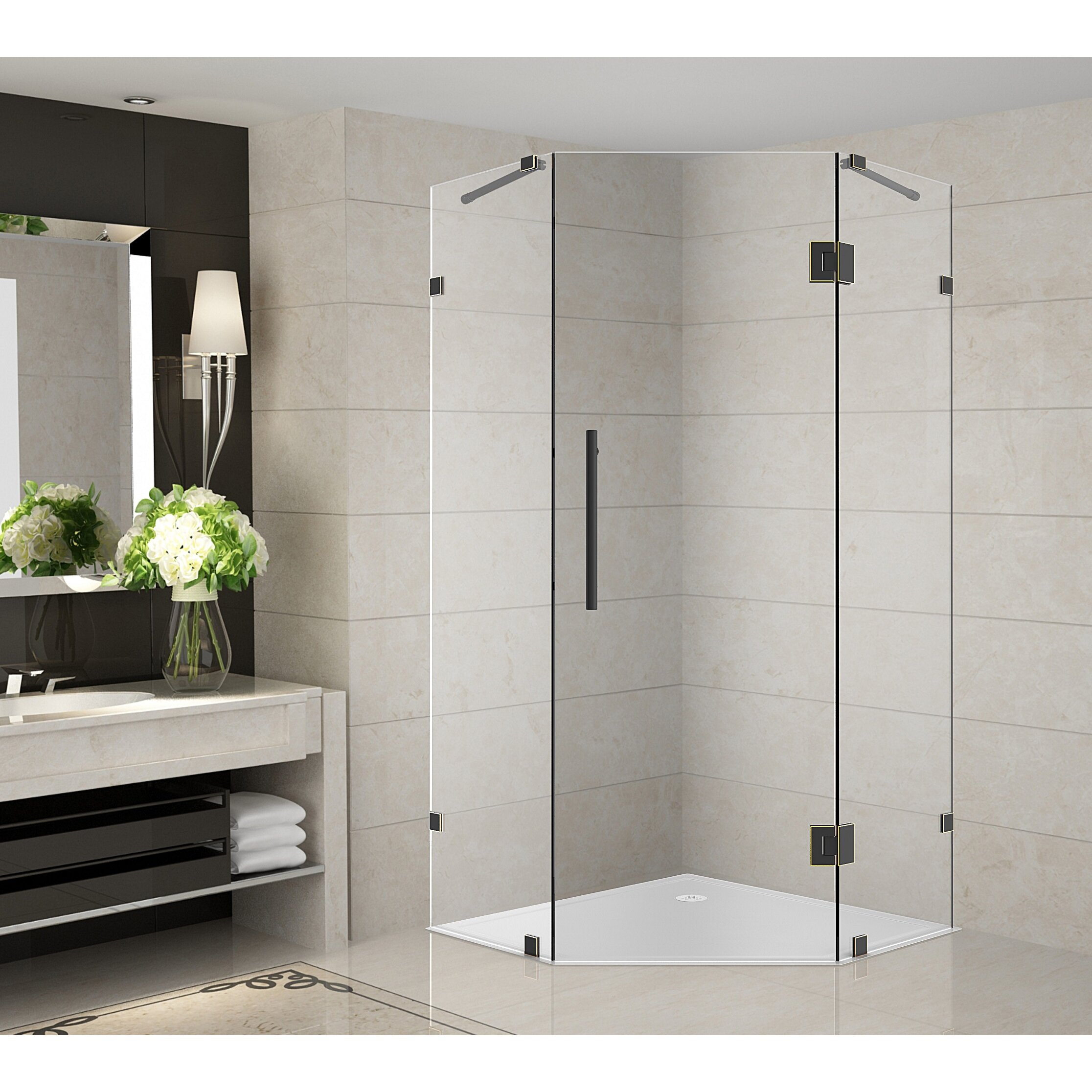 Aston neoscape 40 x 40 x 72 completely frameless neo angle hinged shower enclosure wayfair - Small shower enclosures ...