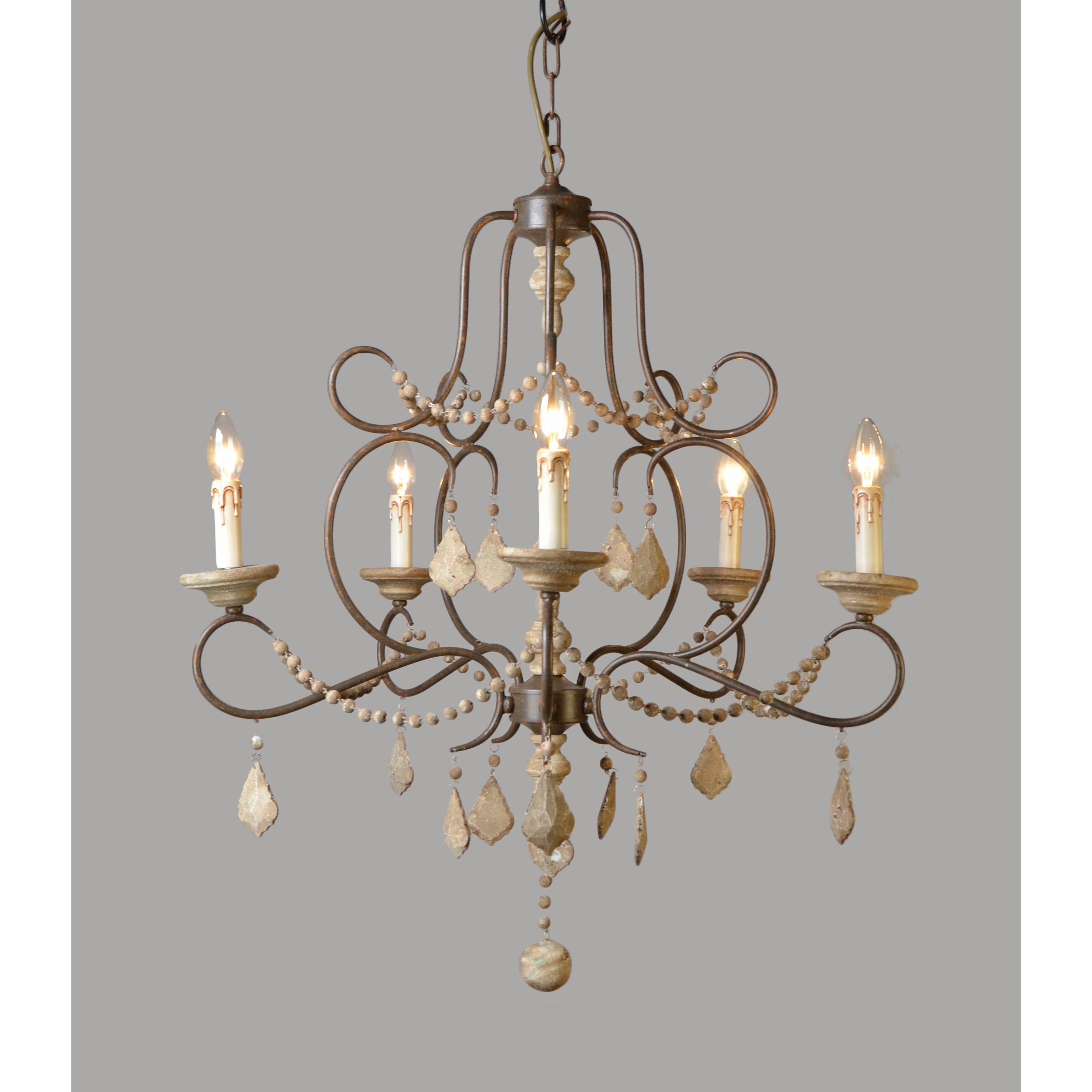 MOTI Furniture 5 Light Candle-Style Chandelier