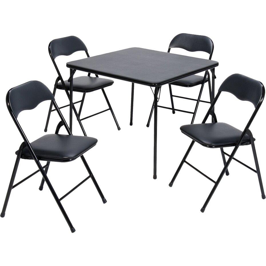 "Meco 5 Piece 34"" Square Folding Table Set & Reviews"