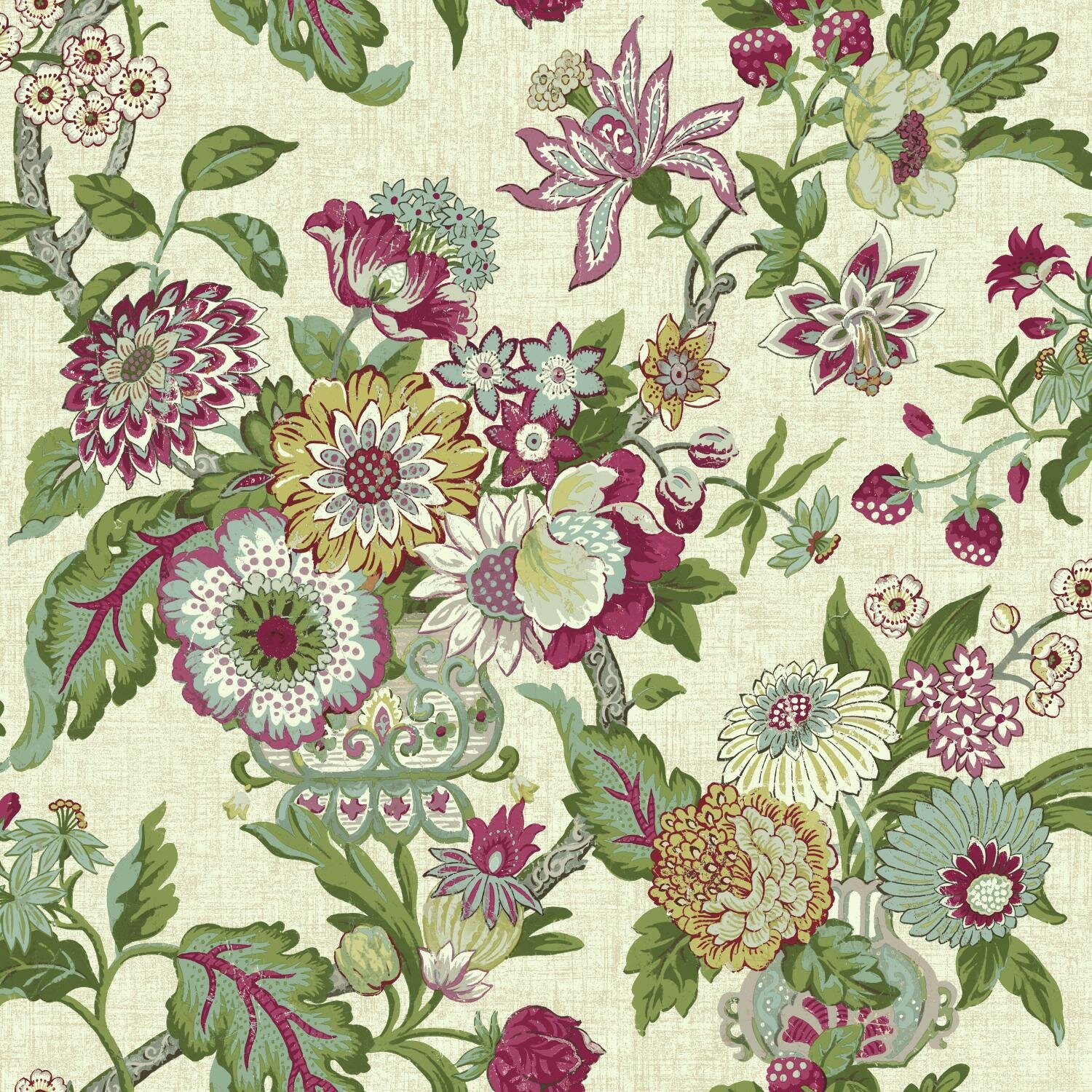 York wallcoverings waverly global chic 33 39 x 20 5 floral for Waverly wallpaper