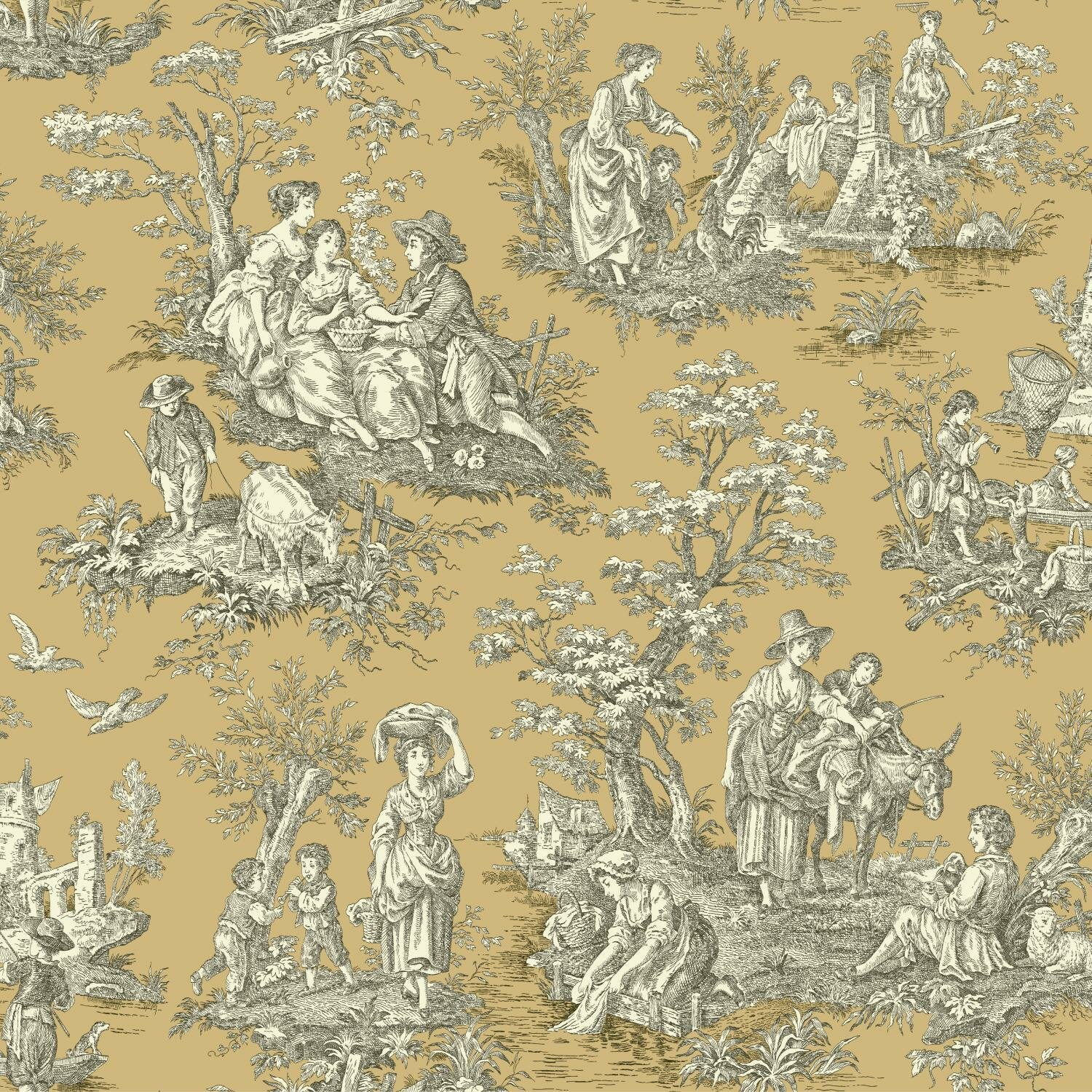 """York Wallcoverings Waverly Country Life 33' X 20.5"""" Toile"""