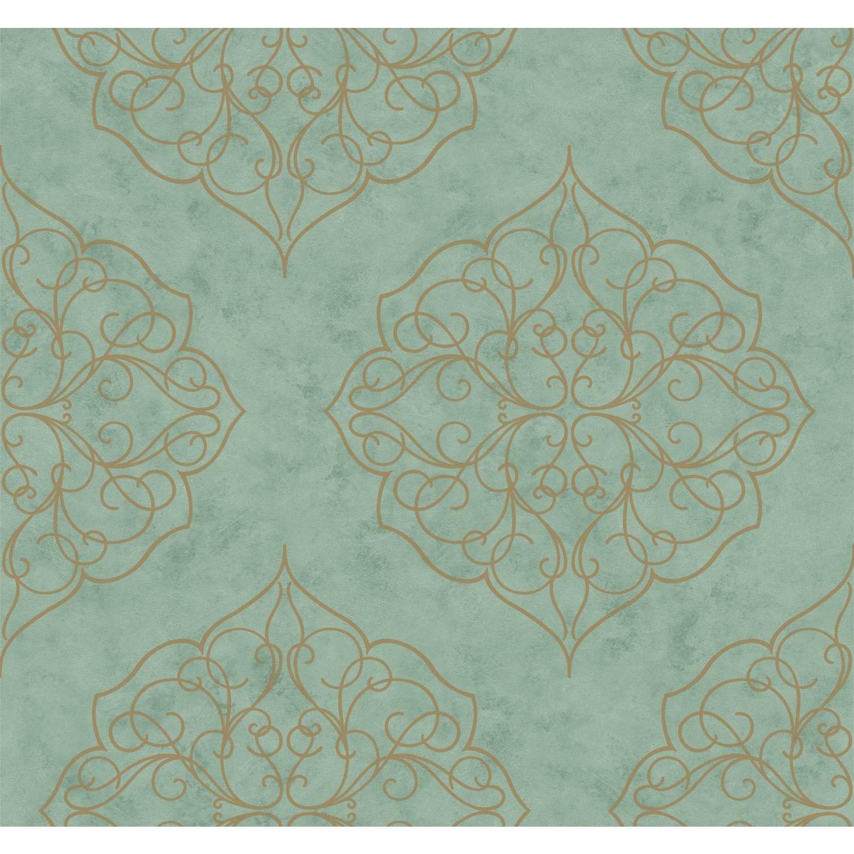 "York Wallcoverings Kashmir 27' X 27"" Rose Window Floral"