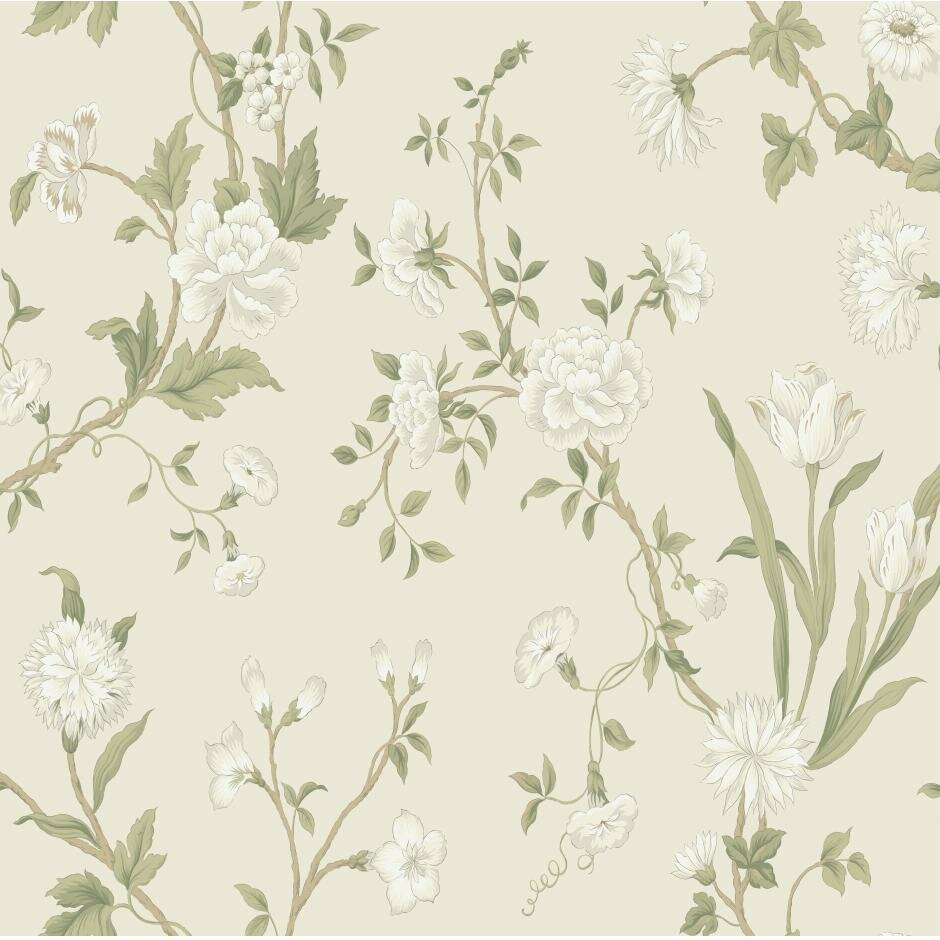 """York Wallcoverings Black And White Gracie 27' X 27"""" Floral"""
