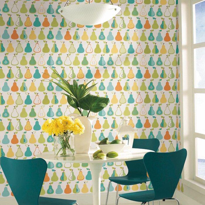York wallcoverings bistro 750 33 39 x 20 5 pears wallpaper for Wayfair bathroom wallpaper