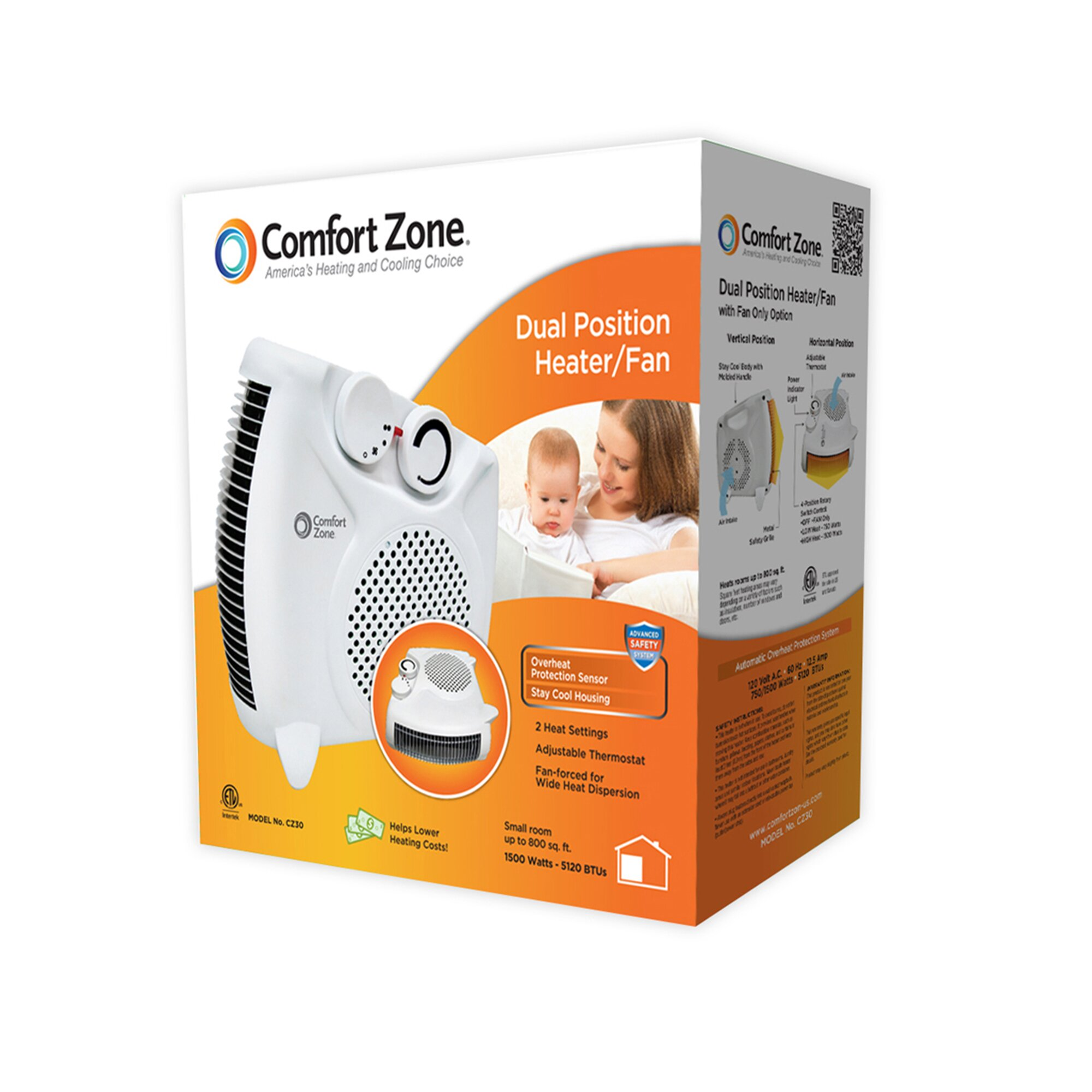 Comfort Zone 1 500 Watt Portable Electric Dual Position
