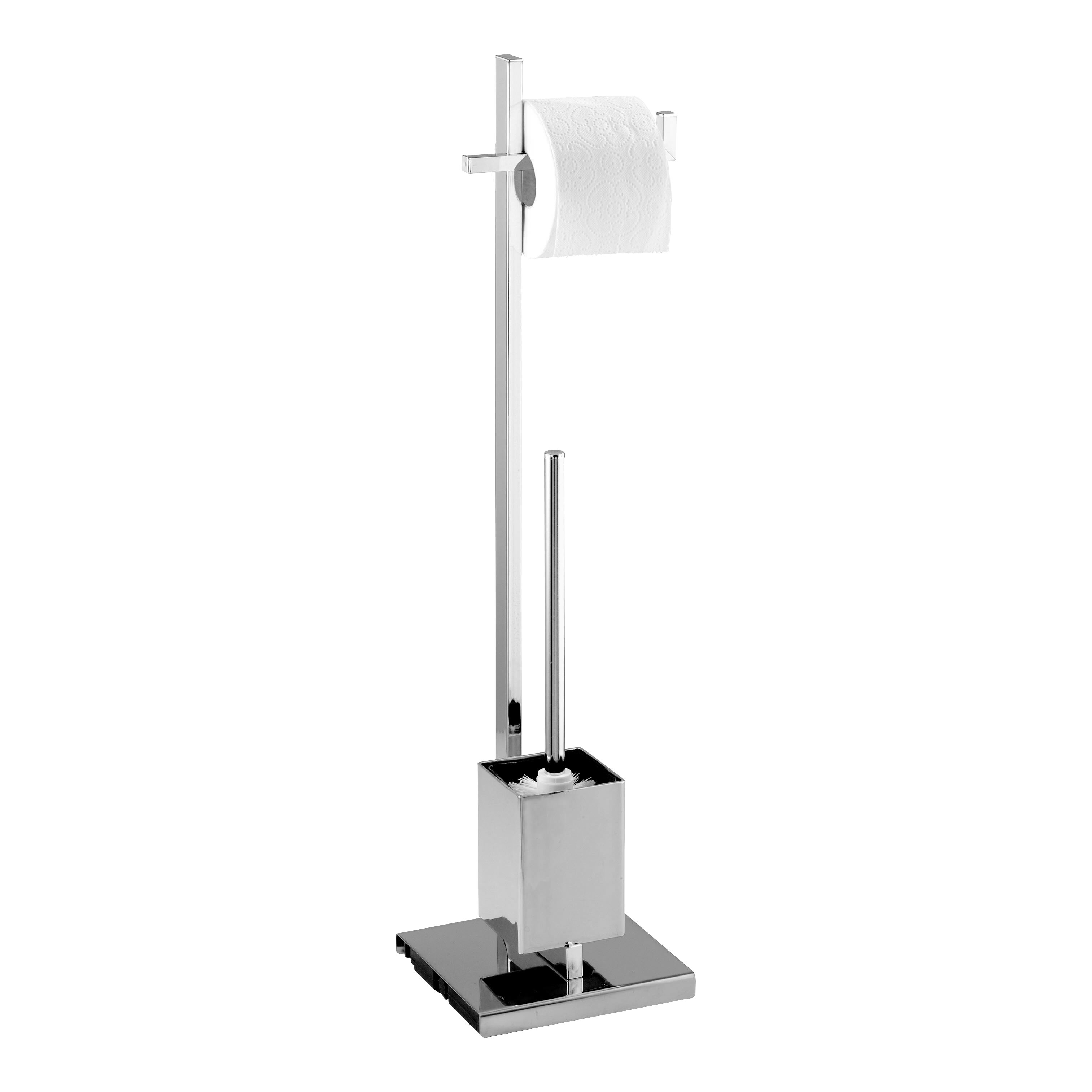 Wenko quadro free standing toilet roll and brush holder Glass toilet roll holder