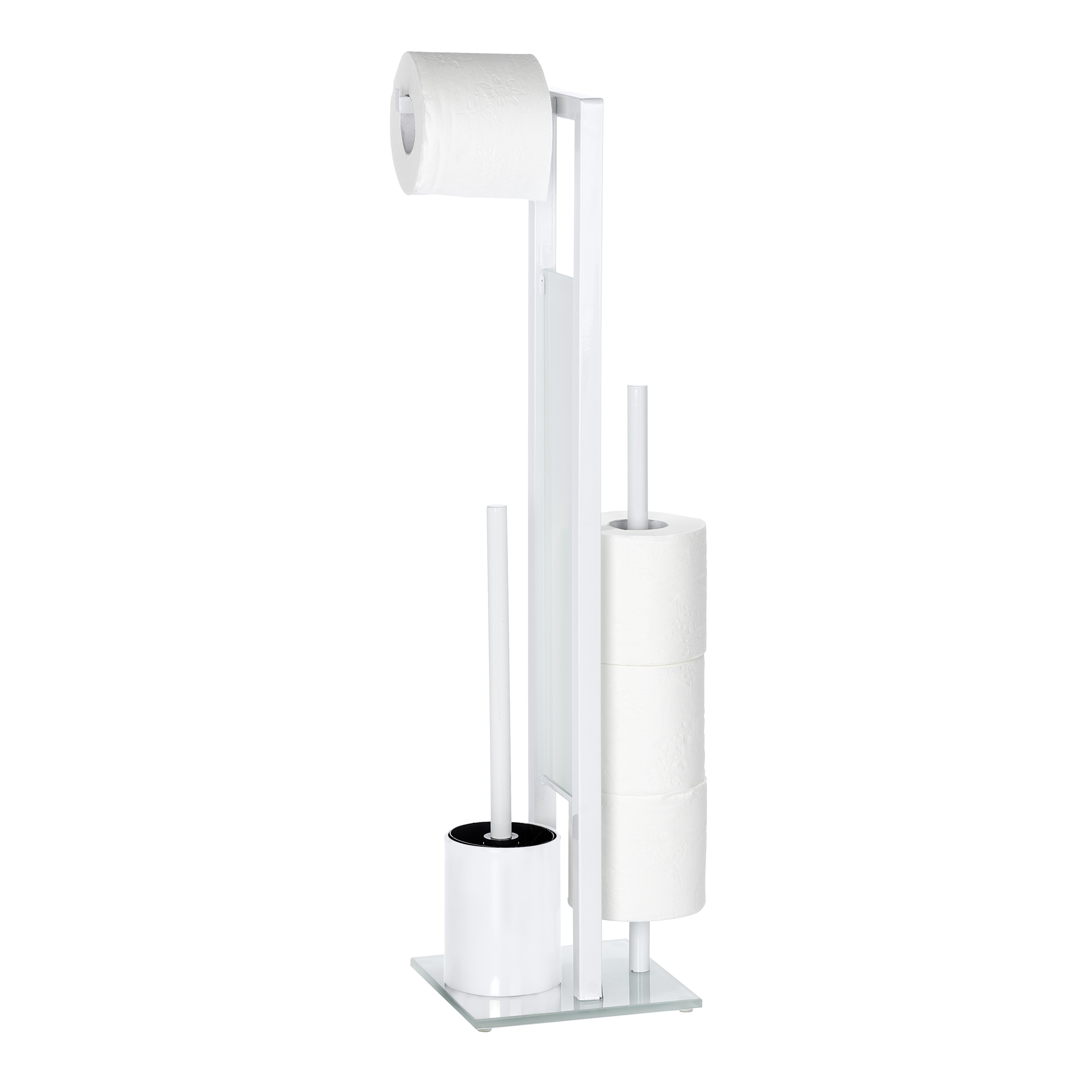 Wenko rivalta free standing toilet roll and brush holder Glass toilet roll holder