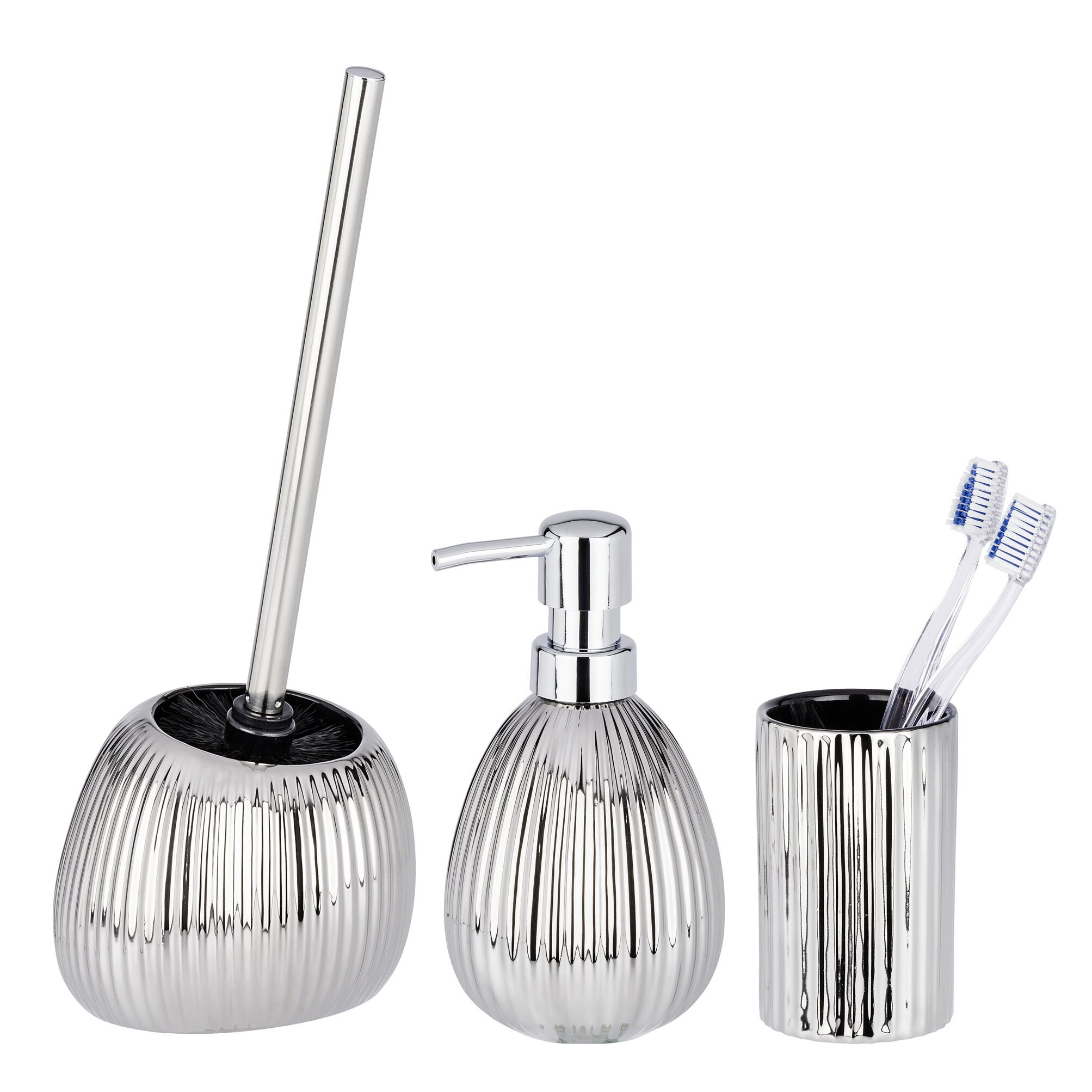 Wenko polaris riff 3 piece bathroom accessory set wayfair uk for Three piece bathroom