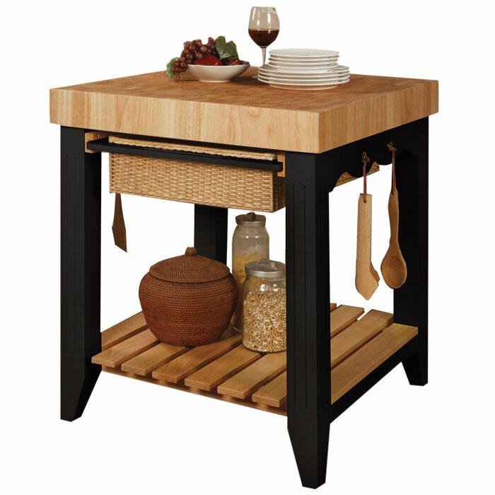 powell colour storey prep table with butcher block top