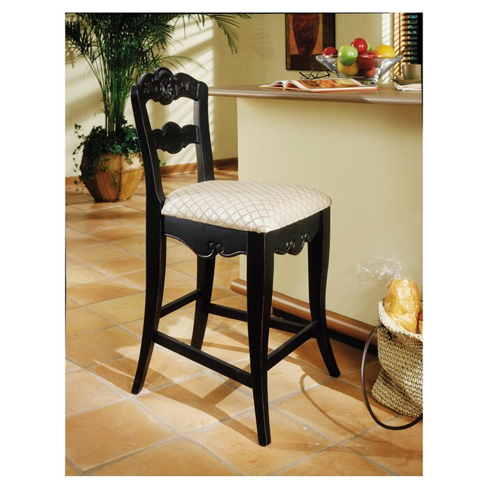 Powell hills of provence antique black 24 bar stool for Furniture 2 day shipping