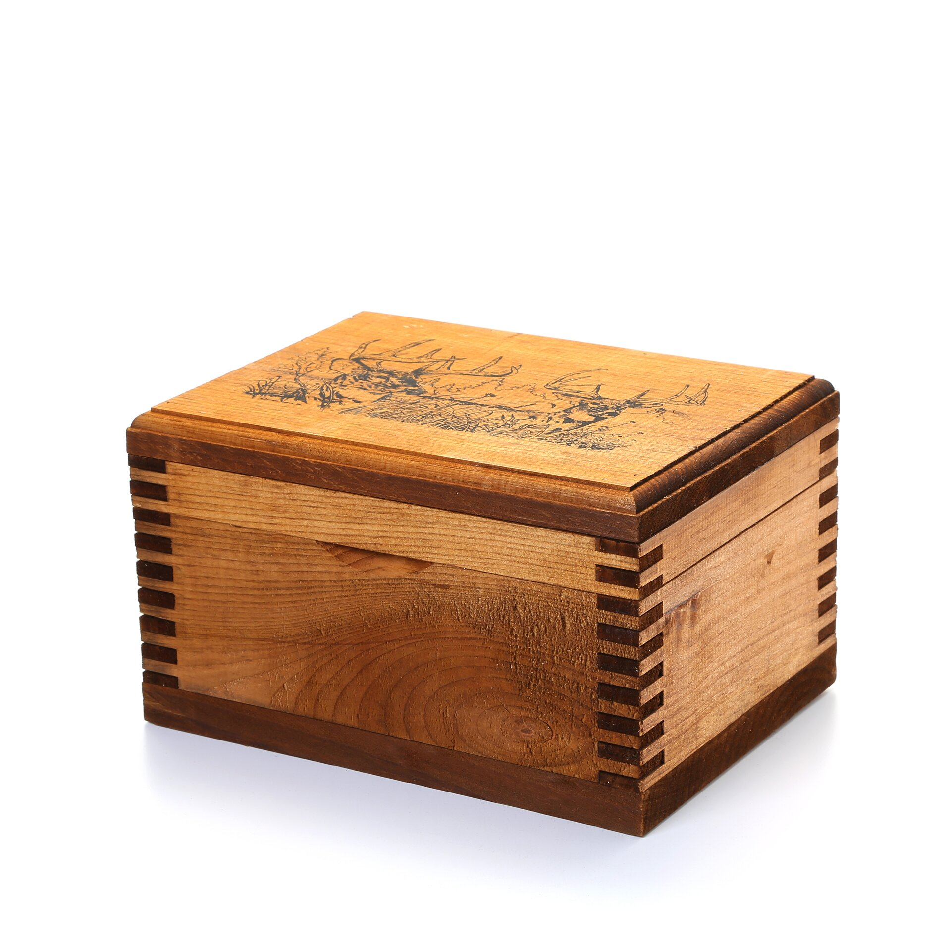 Evans Sports Mini Wooden Box With Two Trophy Deer Print