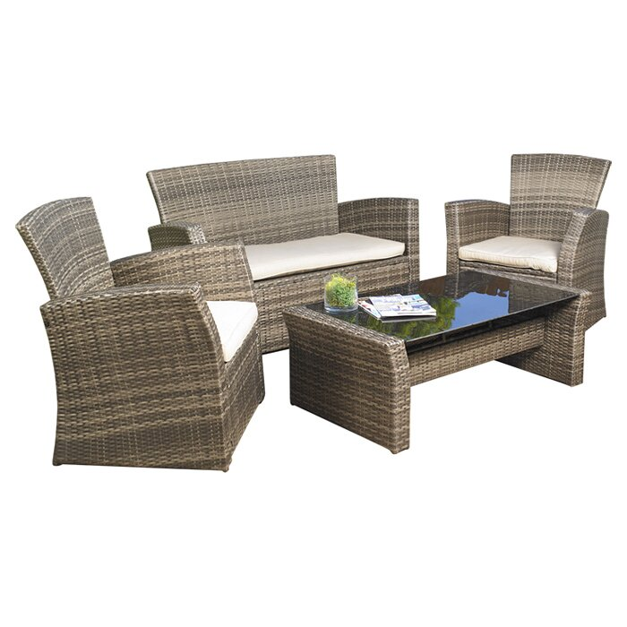 Mission Hills Redondo 4 Piece Lounge Seating Group With Cushion Reviews