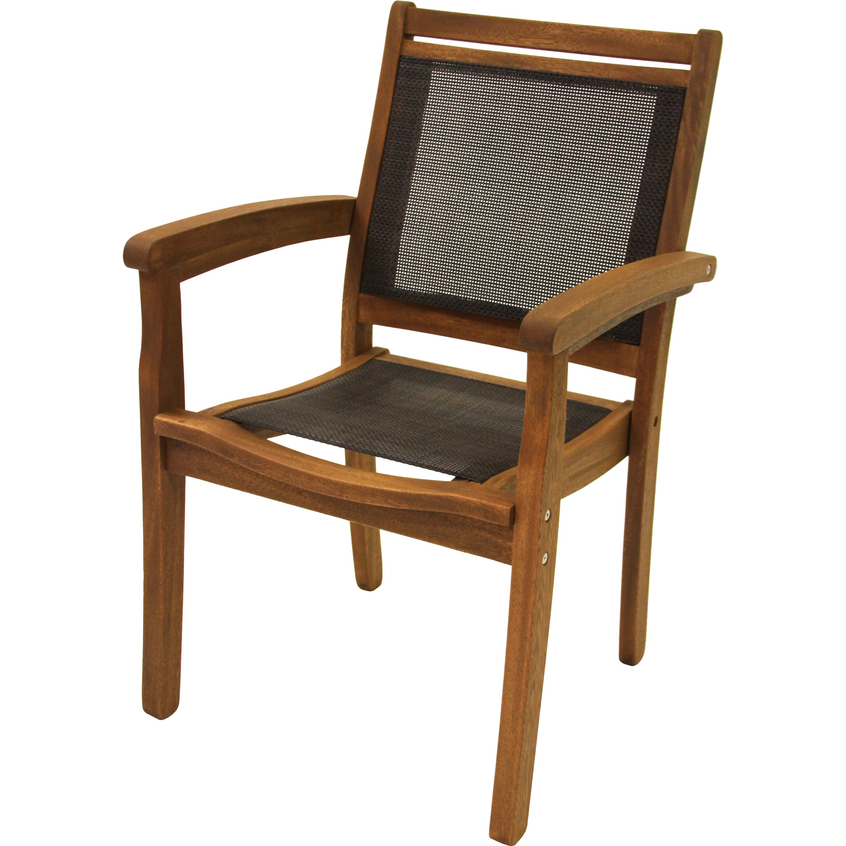 Outdoor interiors sling and eucalyptus stackable arm chair reviews wayfair for Outdoor interiors eucalyptus rocking chair